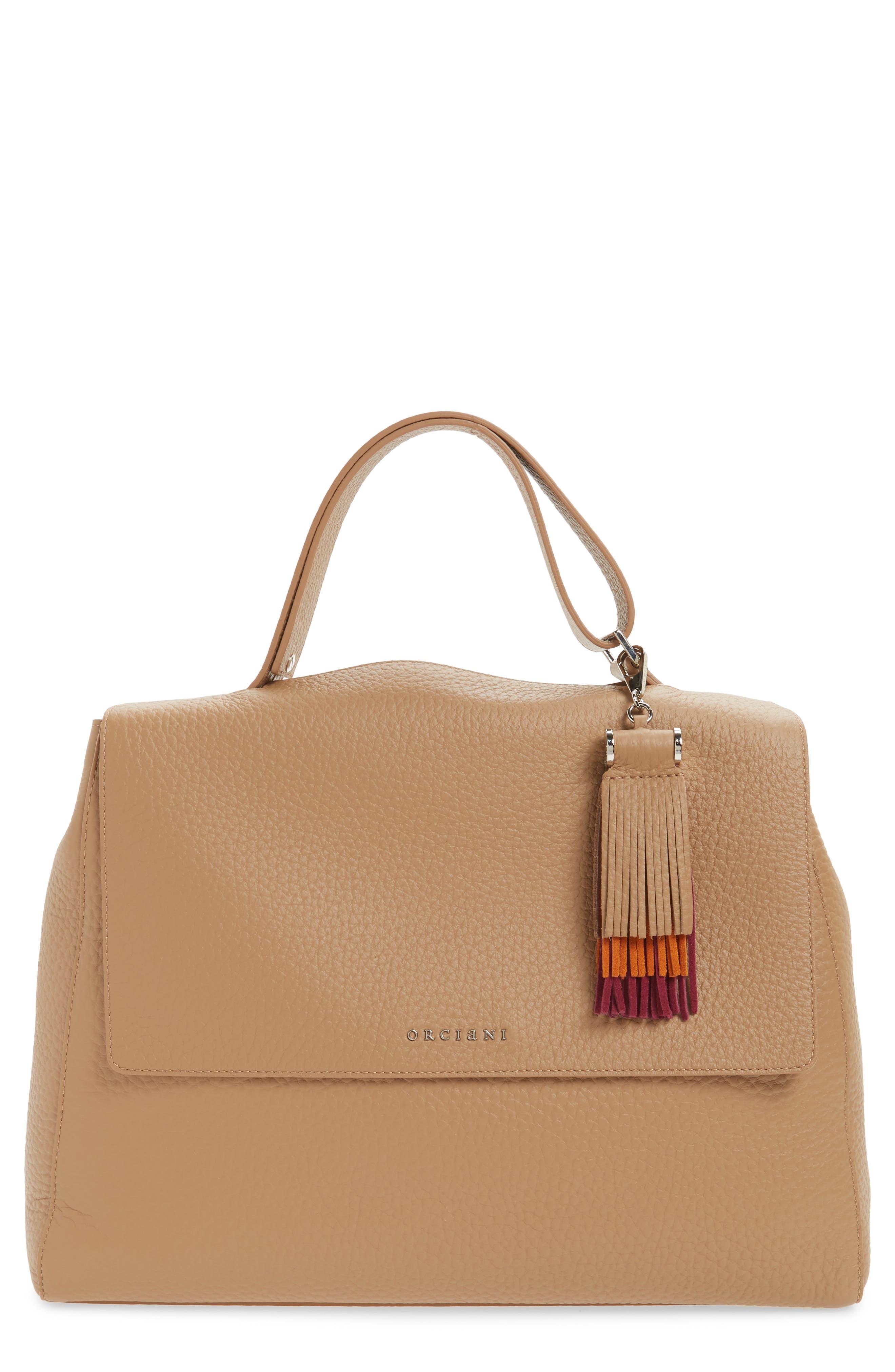 ORCIANI Double Leather Top Handle Satchel & Tassel Bag Charm