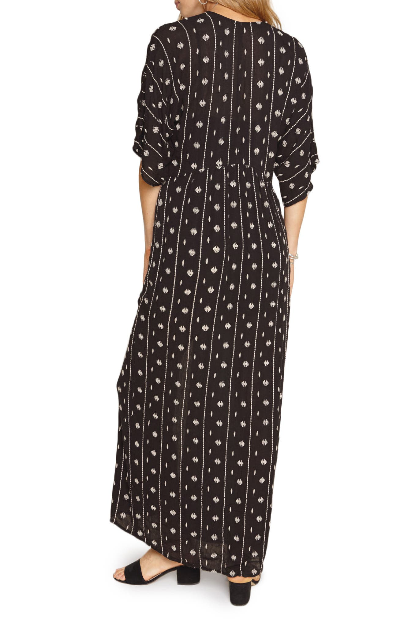 Lyla Print Maxi Dress,                             Alternate thumbnail 3, color,                             Black Sands