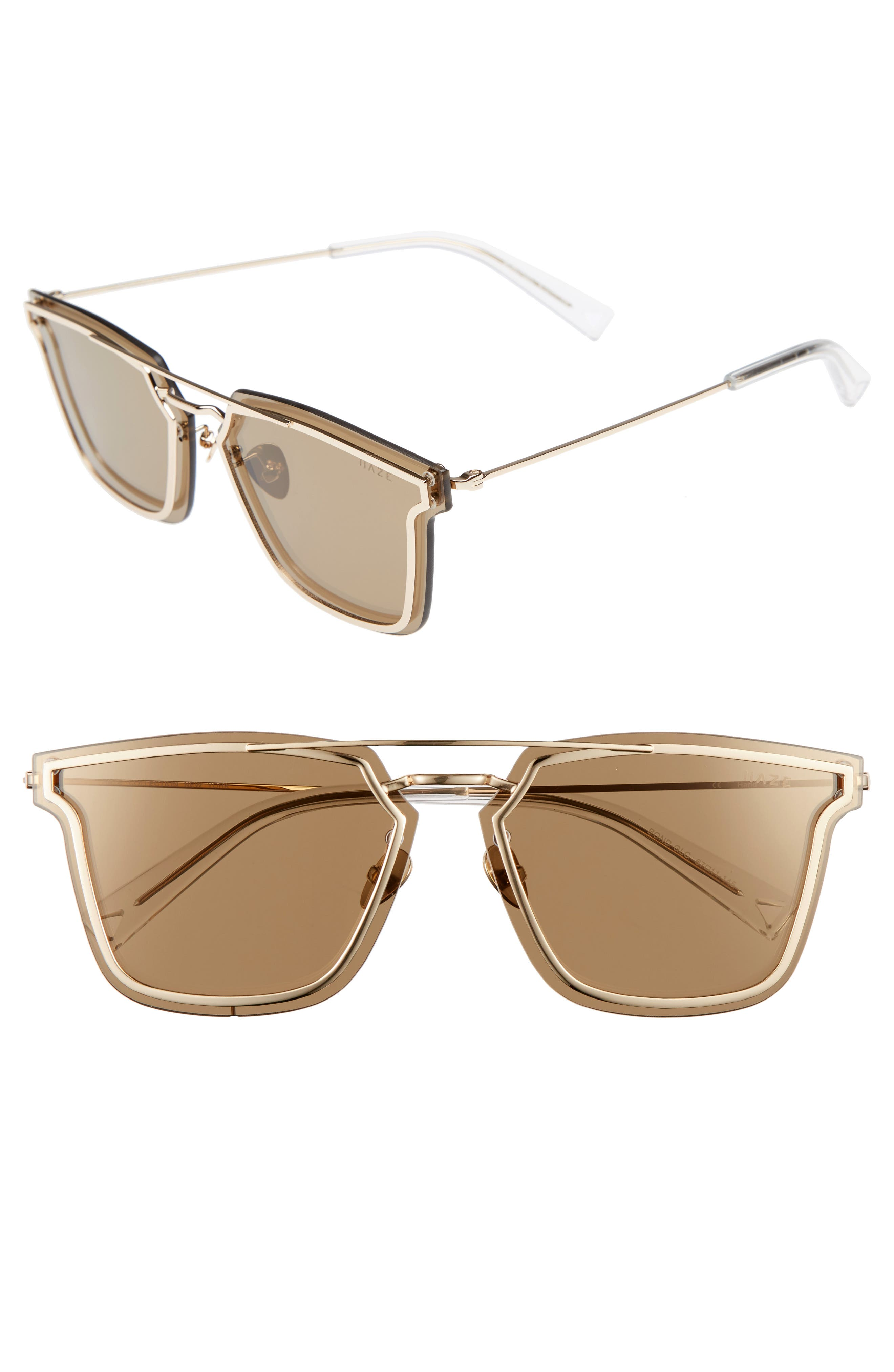 Bond 67mm Oversize Mirrored Sunglasses,                             Main thumbnail 1, color,                             Golden