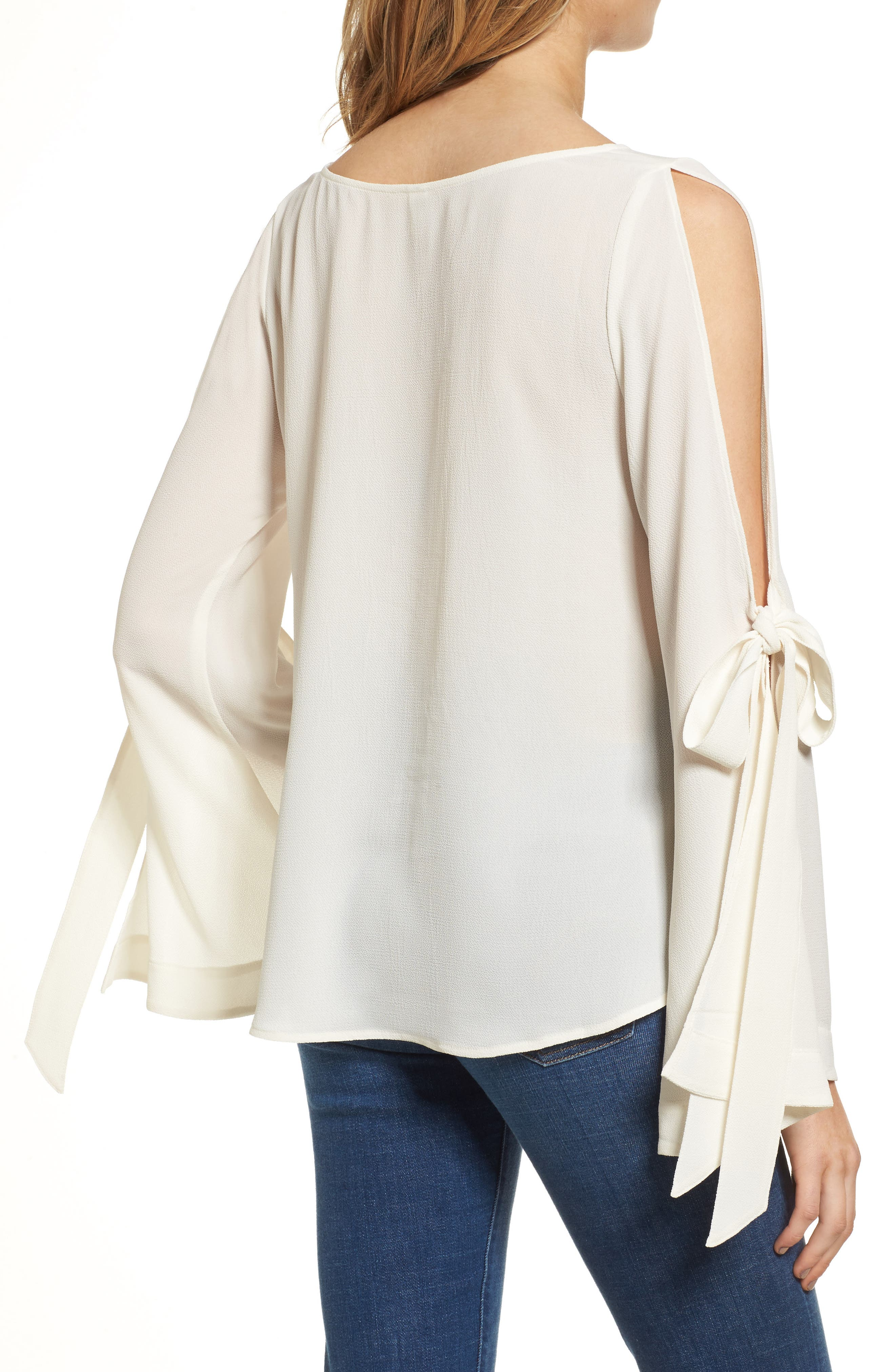Tie Sleeve Blouse,                             Alternate thumbnail 2, color,                             Ivory Egret