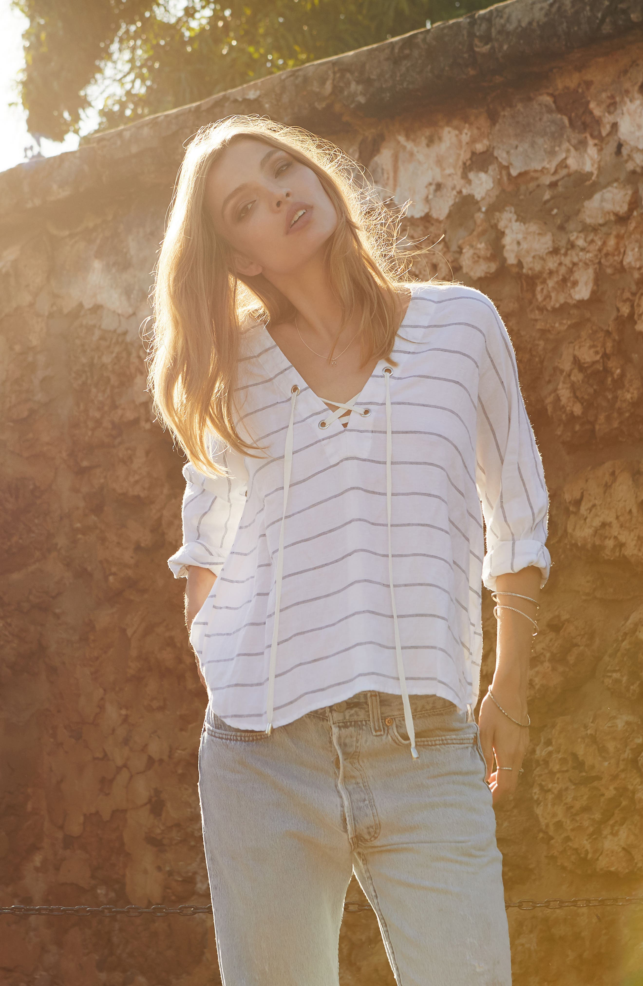Alternate Image 2  - Rails Lily Lace-Up Blouse