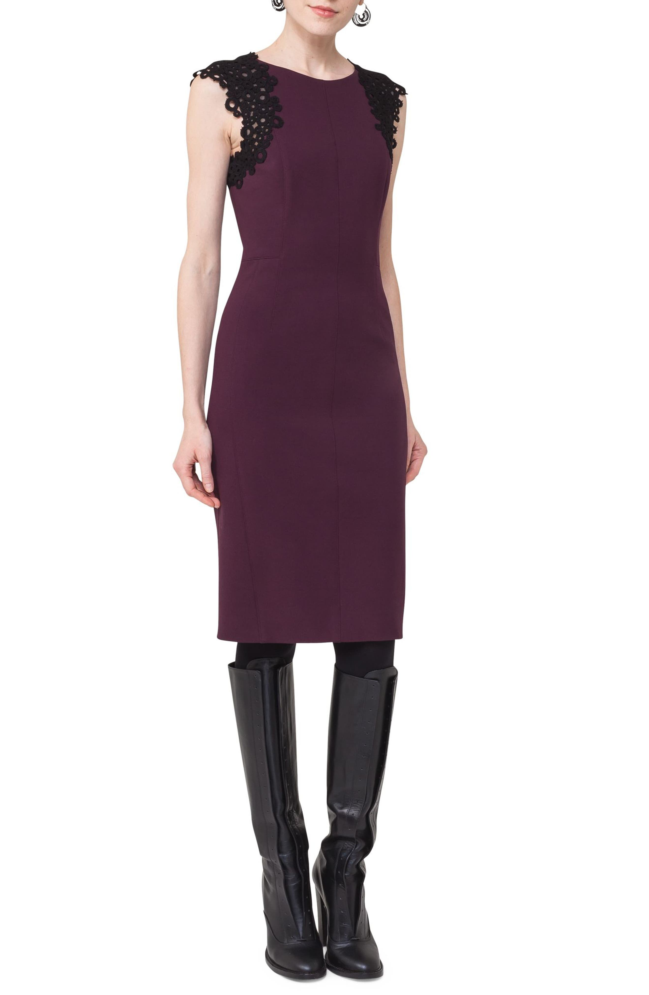 Lace Trim Sheath Dress,                             Alternate thumbnail 3, color,                             Wine