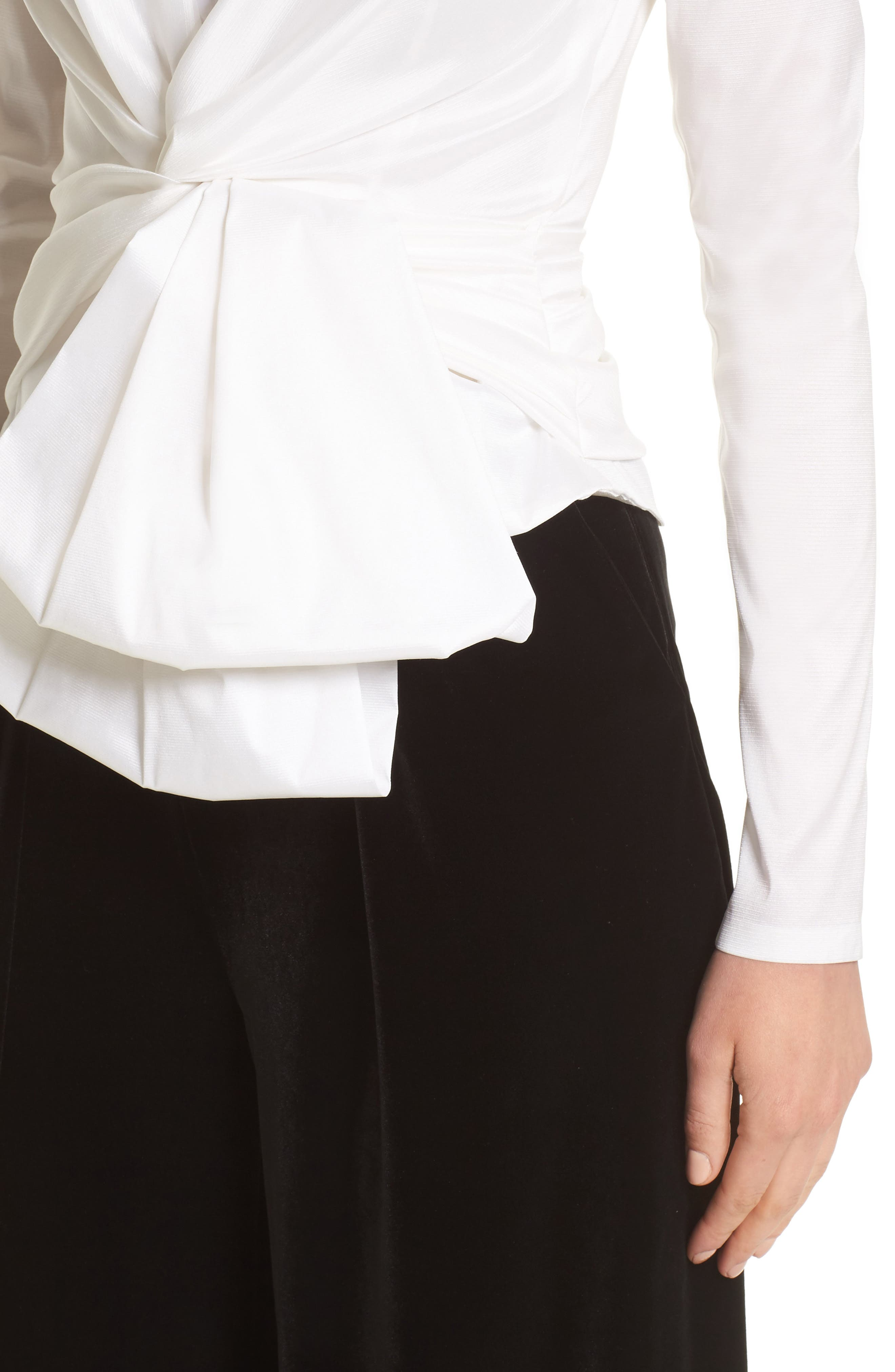 V-Neck Blouse with Bow Detail,                             Alternate thumbnail 4, color,                             White