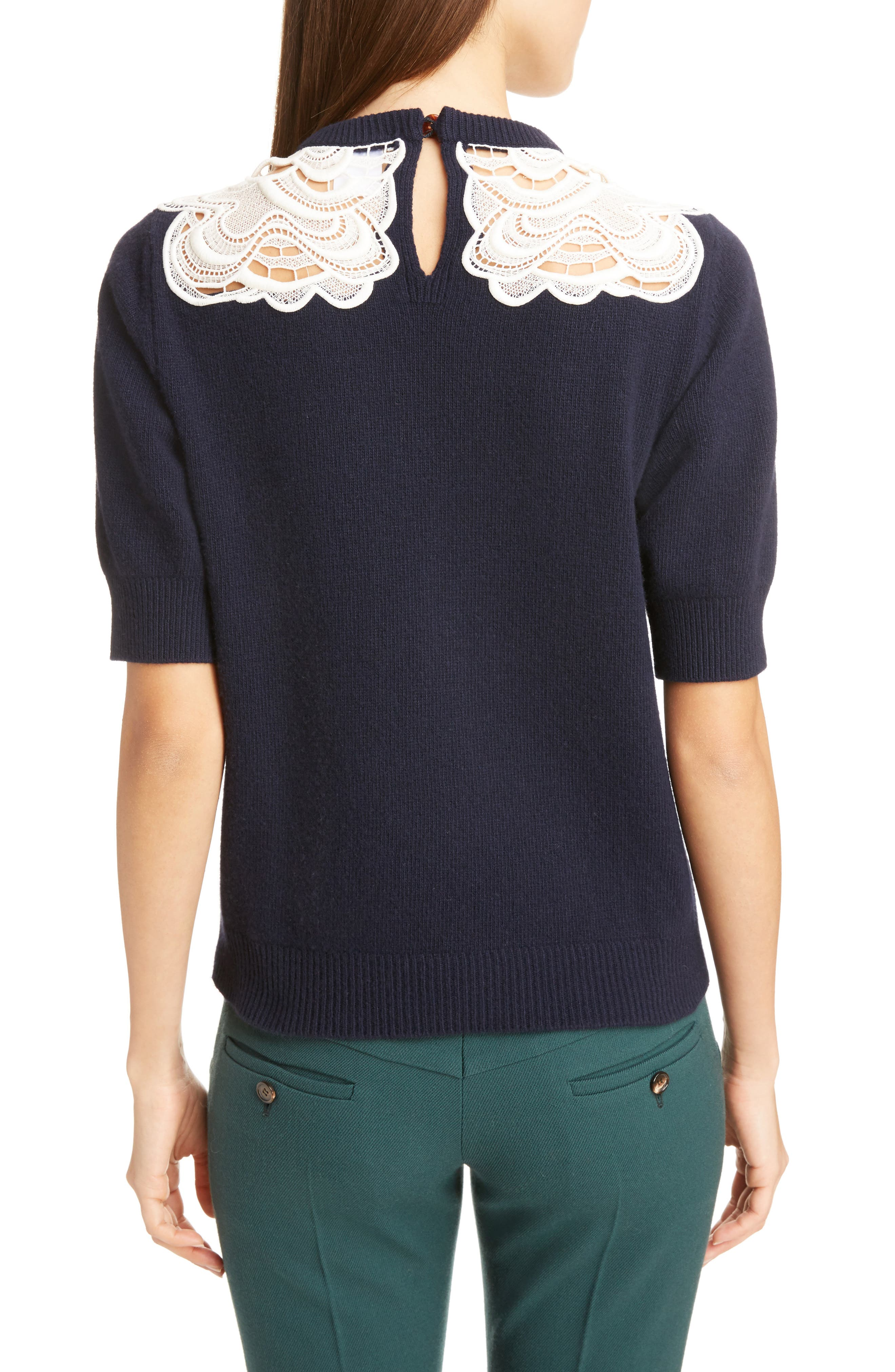 Guipure Lace Detail Wool & Cashmere Sweater,                             Alternate thumbnail 2, color,                             Iconic Navy