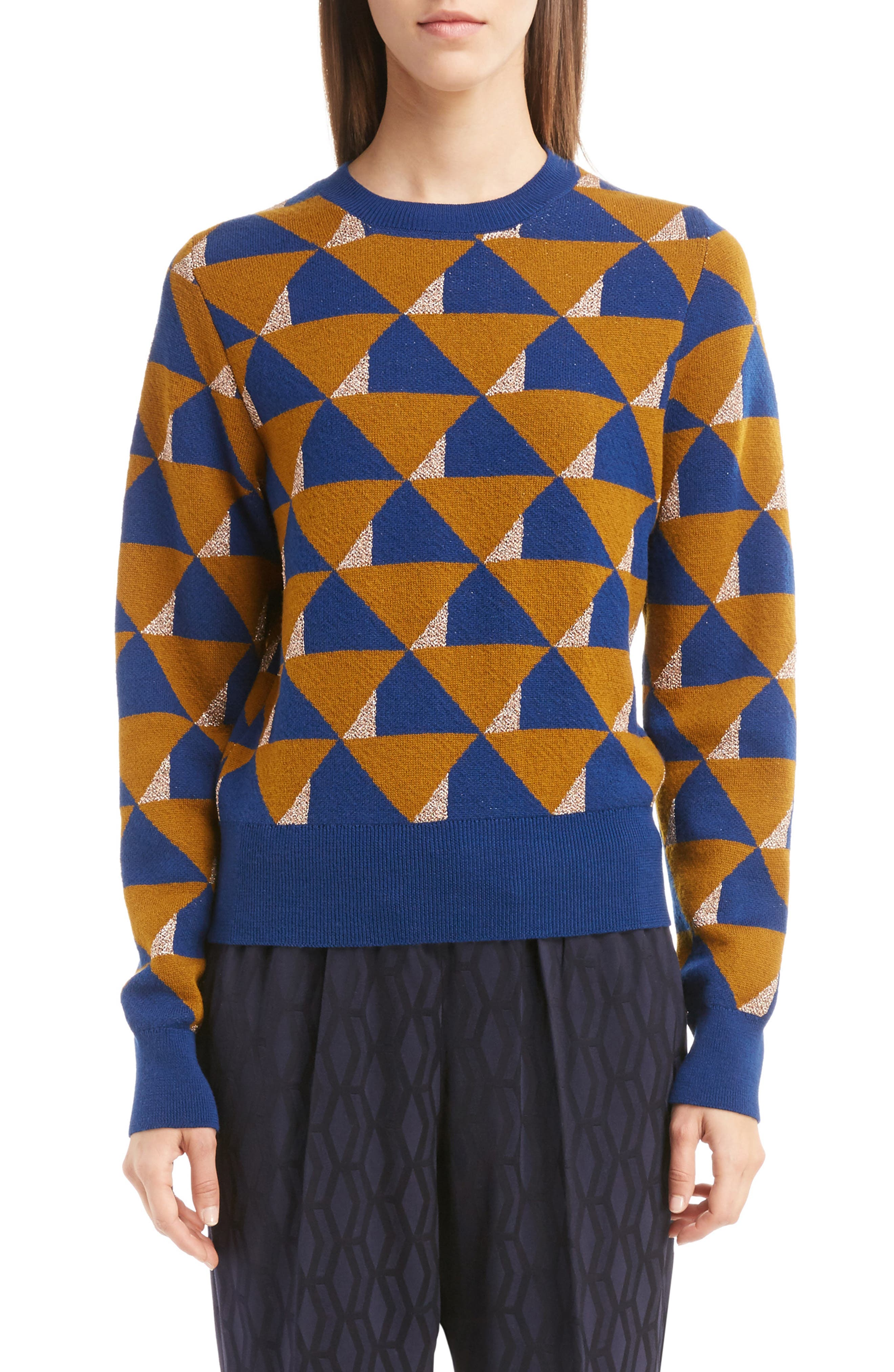 Graphic Knit Merino Wool Sweater,                             Main thumbnail 1, color,                             Ocra