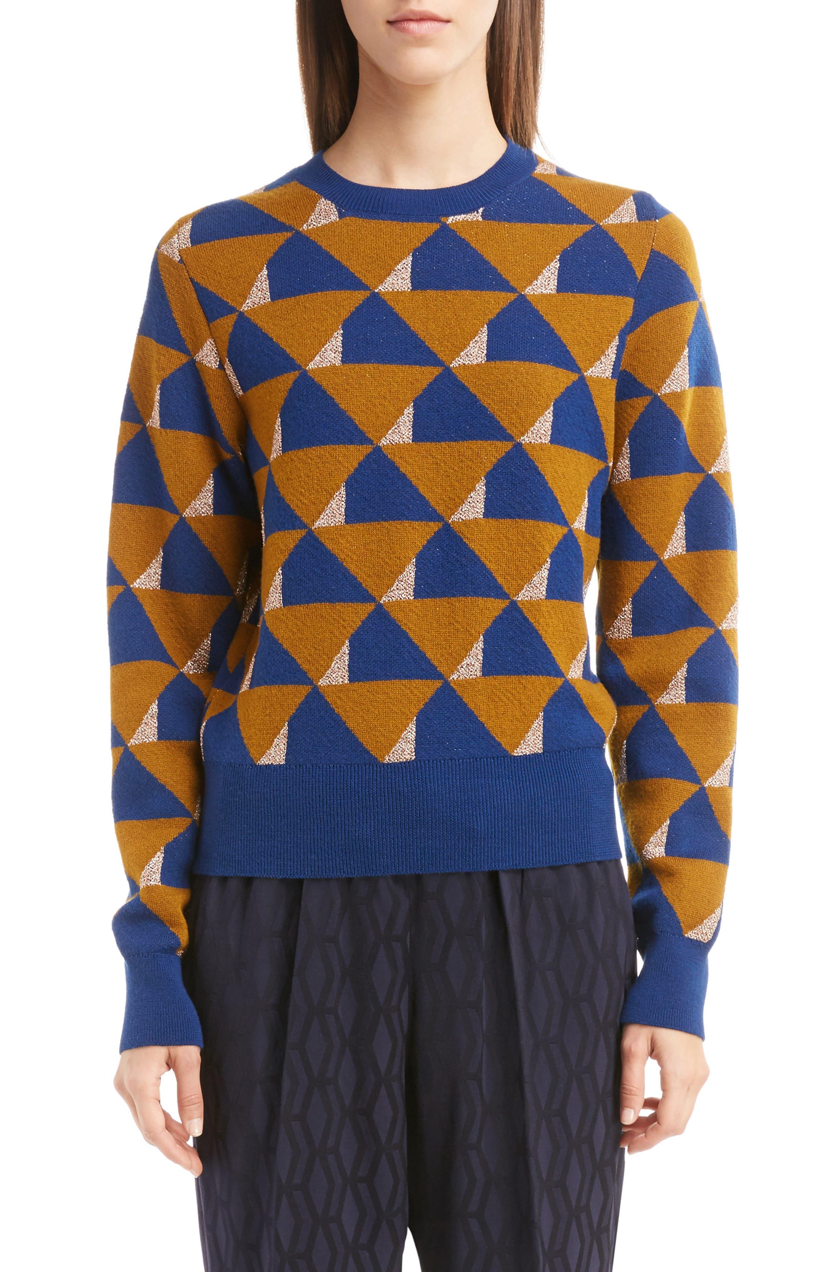 Dries Van Noten Graphic Knit Merino Wool Sweater