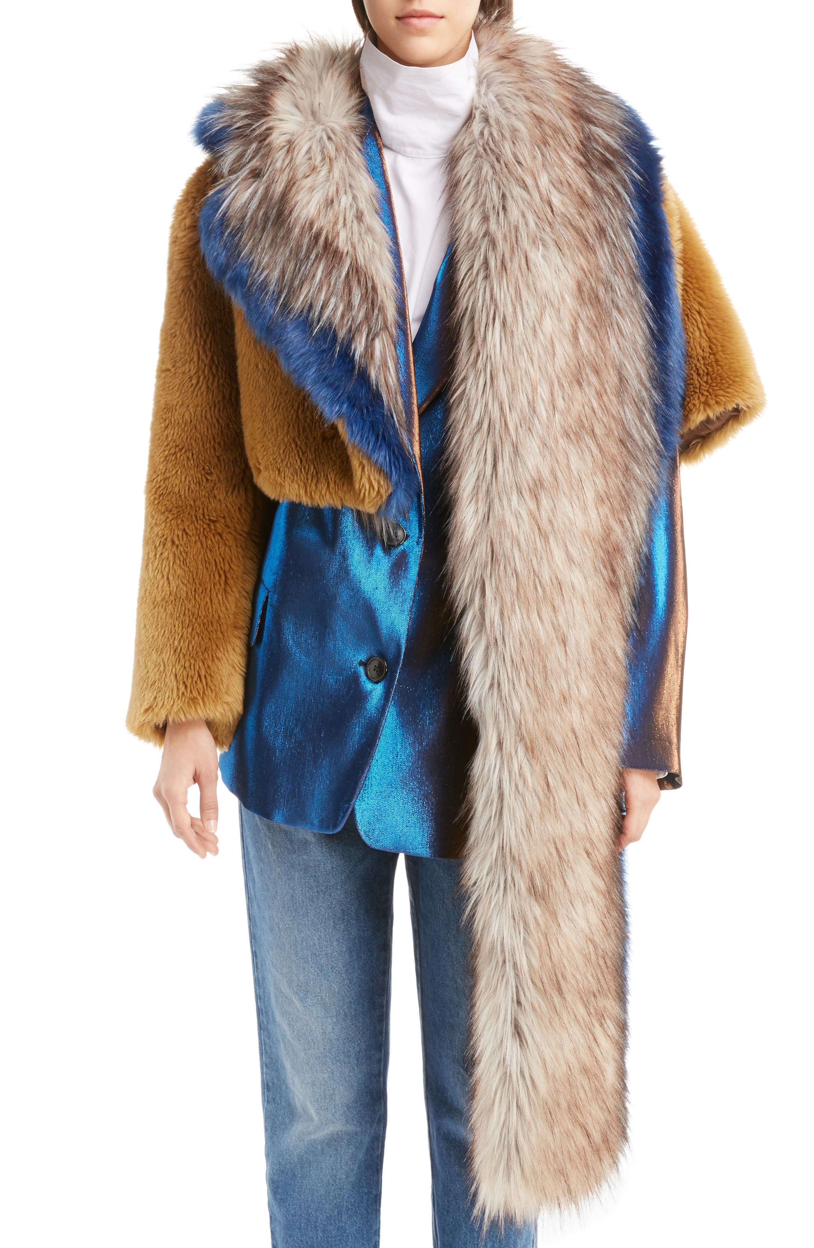 Faux Fur Asymmetrical Shrug,                             Main thumbnail 1, color,                             Camel