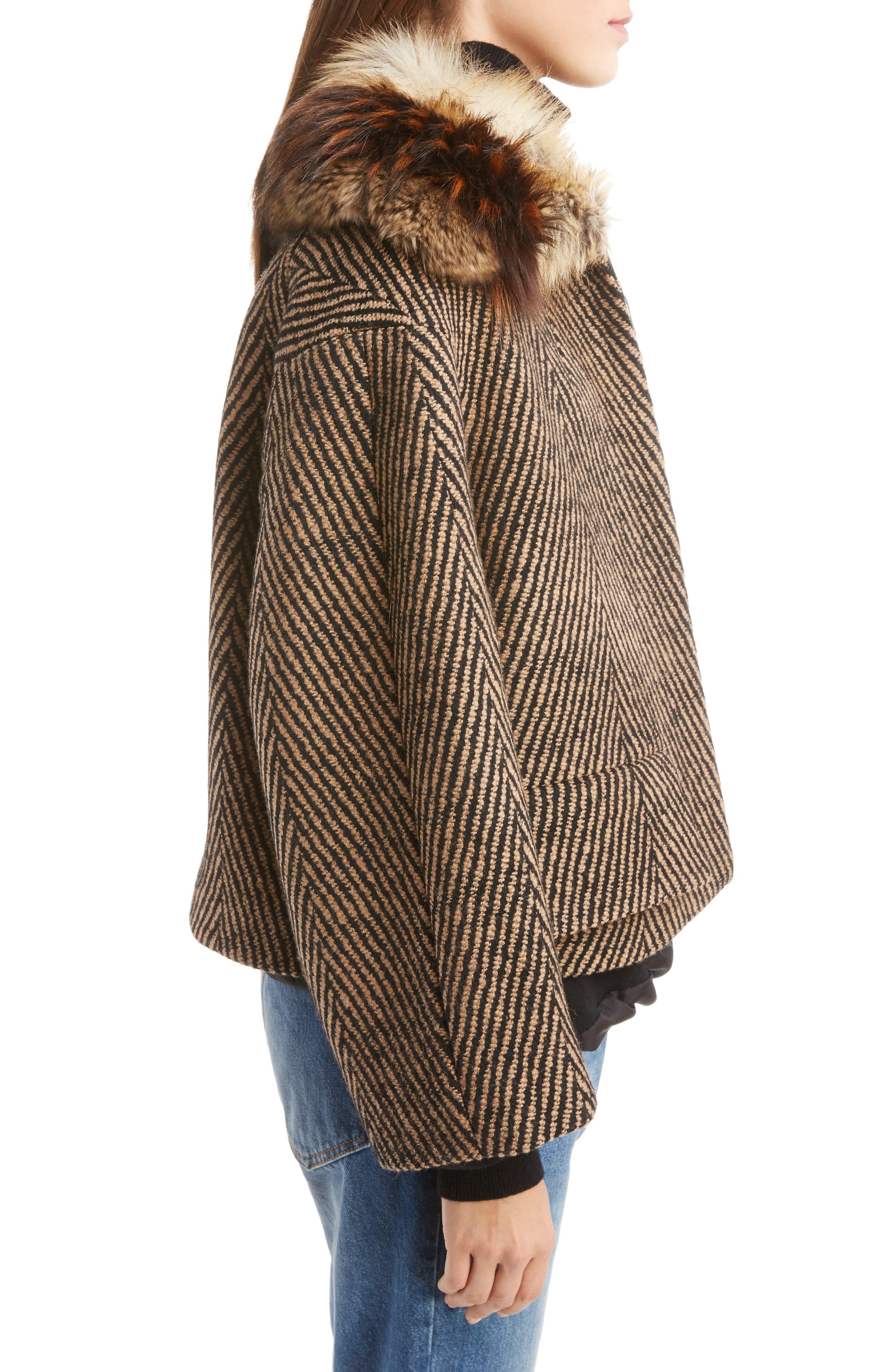 Faux Fur Collar Herringbone Coat,                             Alternate thumbnail 4, color,                             Camel