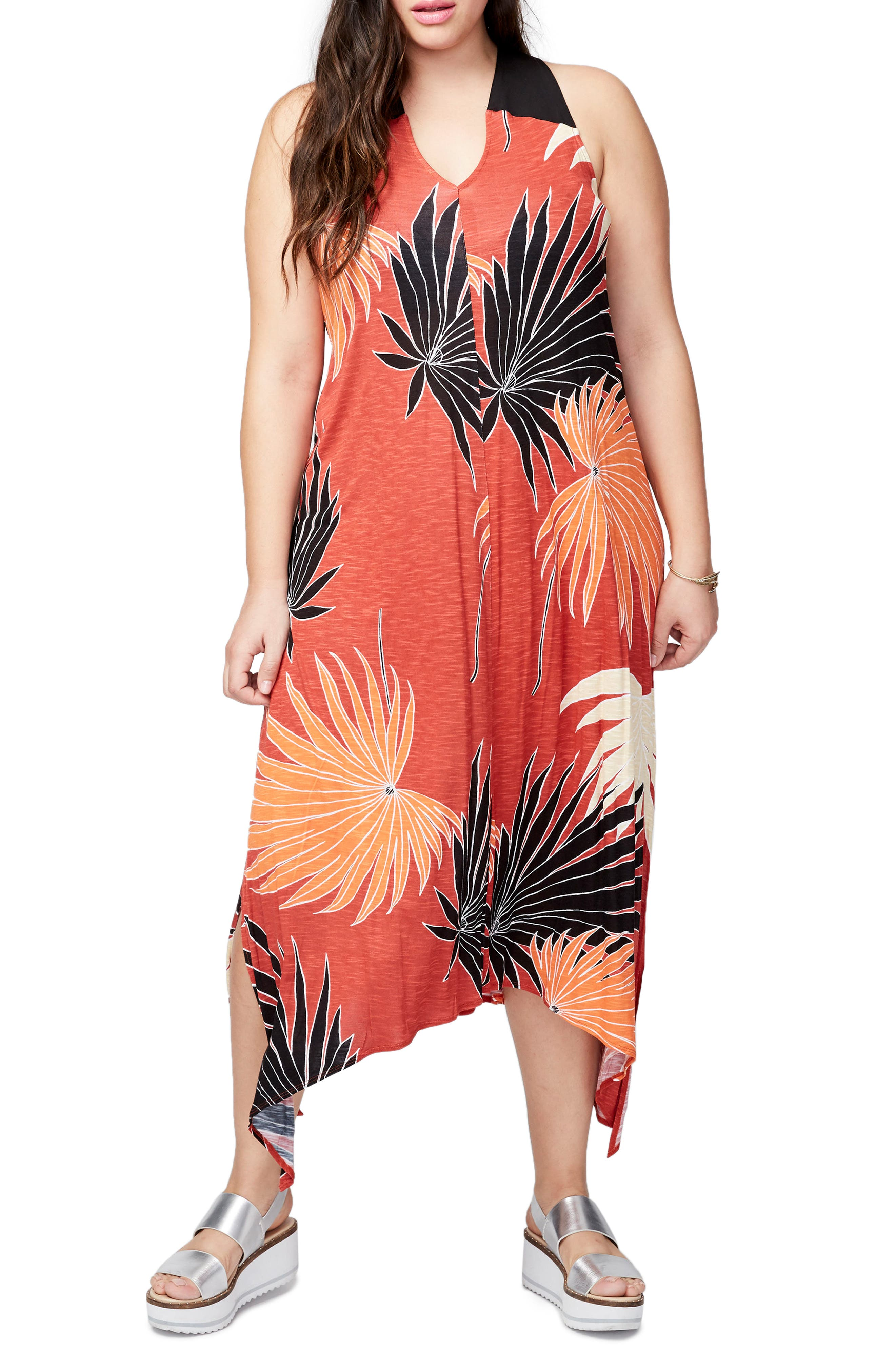 Palm Print Easy Maxi Dress,                             Main thumbnail 1, color,                             Lava Combo
