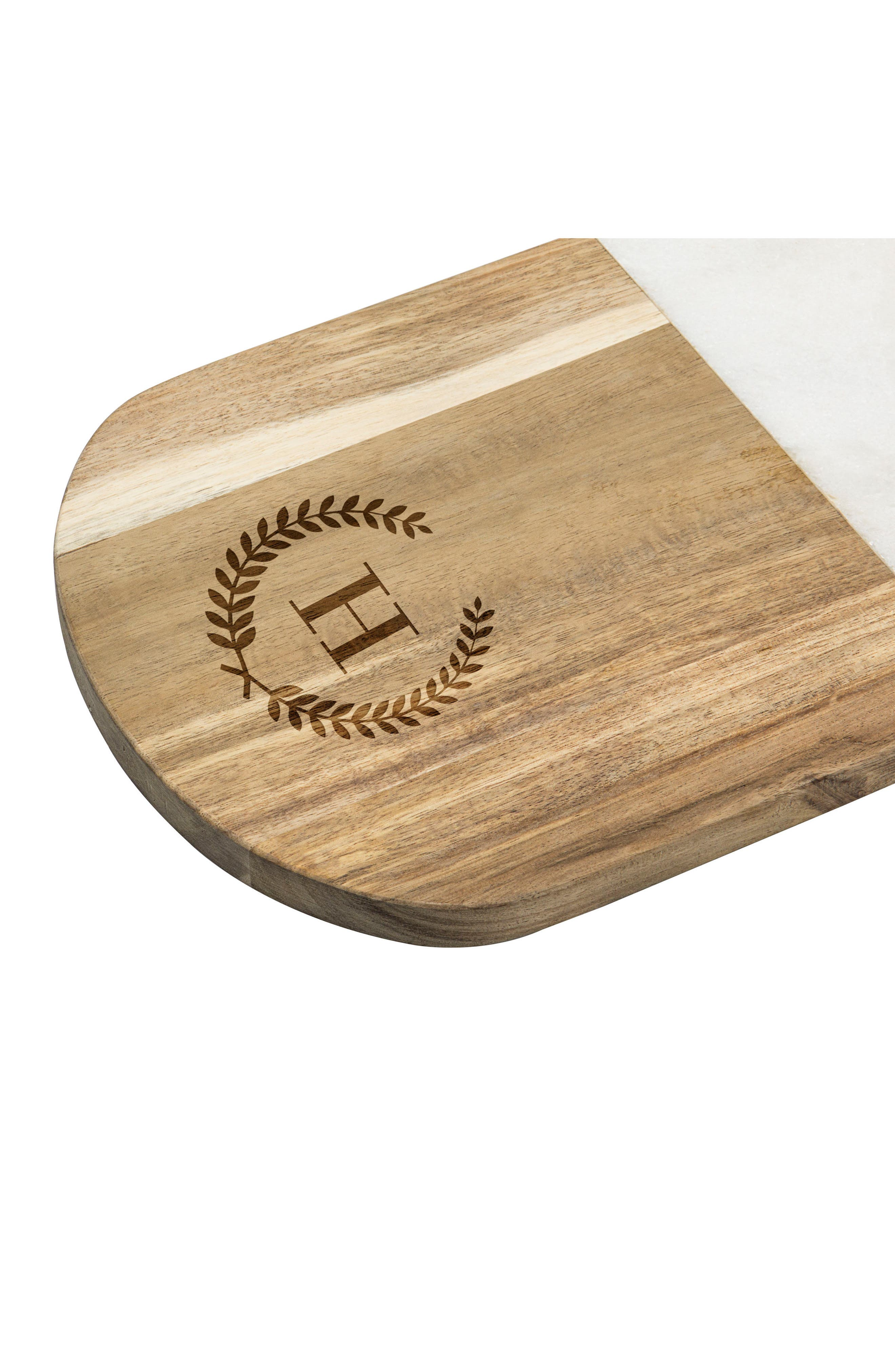 Monogram Marble & Wood Serving Board,                             Alternate thumbnail 3, color,