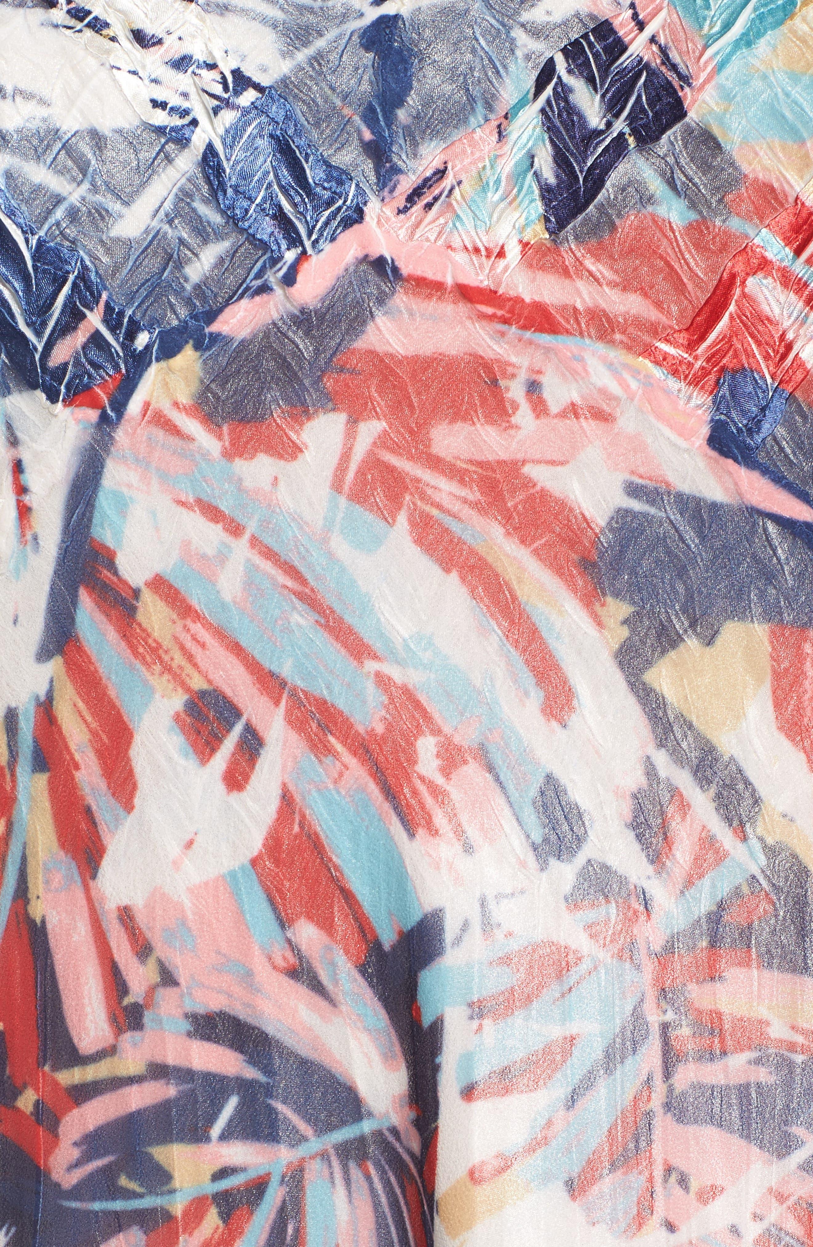 Print Chiffon A-Line Dress,                             Alternate thumbnail 5, color,                             Havana Palms