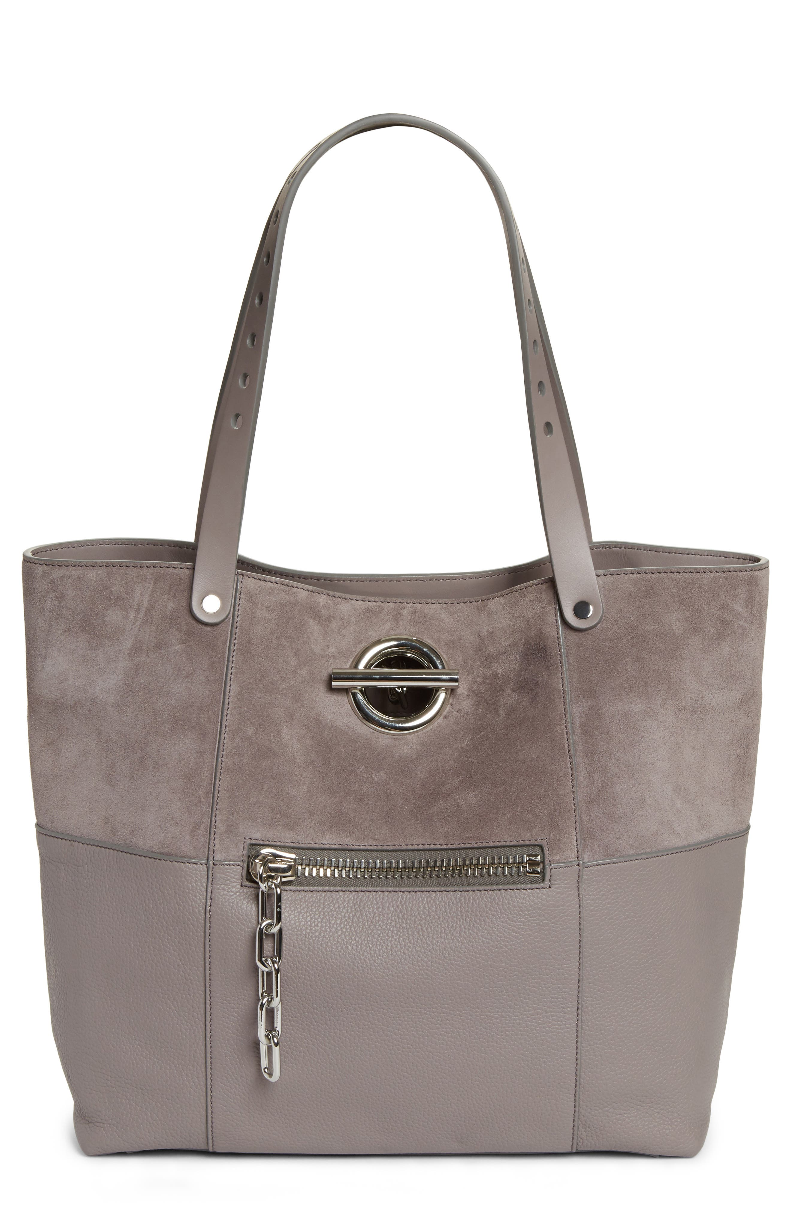 Riot Suede & Leather Tote,                             Main thumbnail 1, color,                             Grey