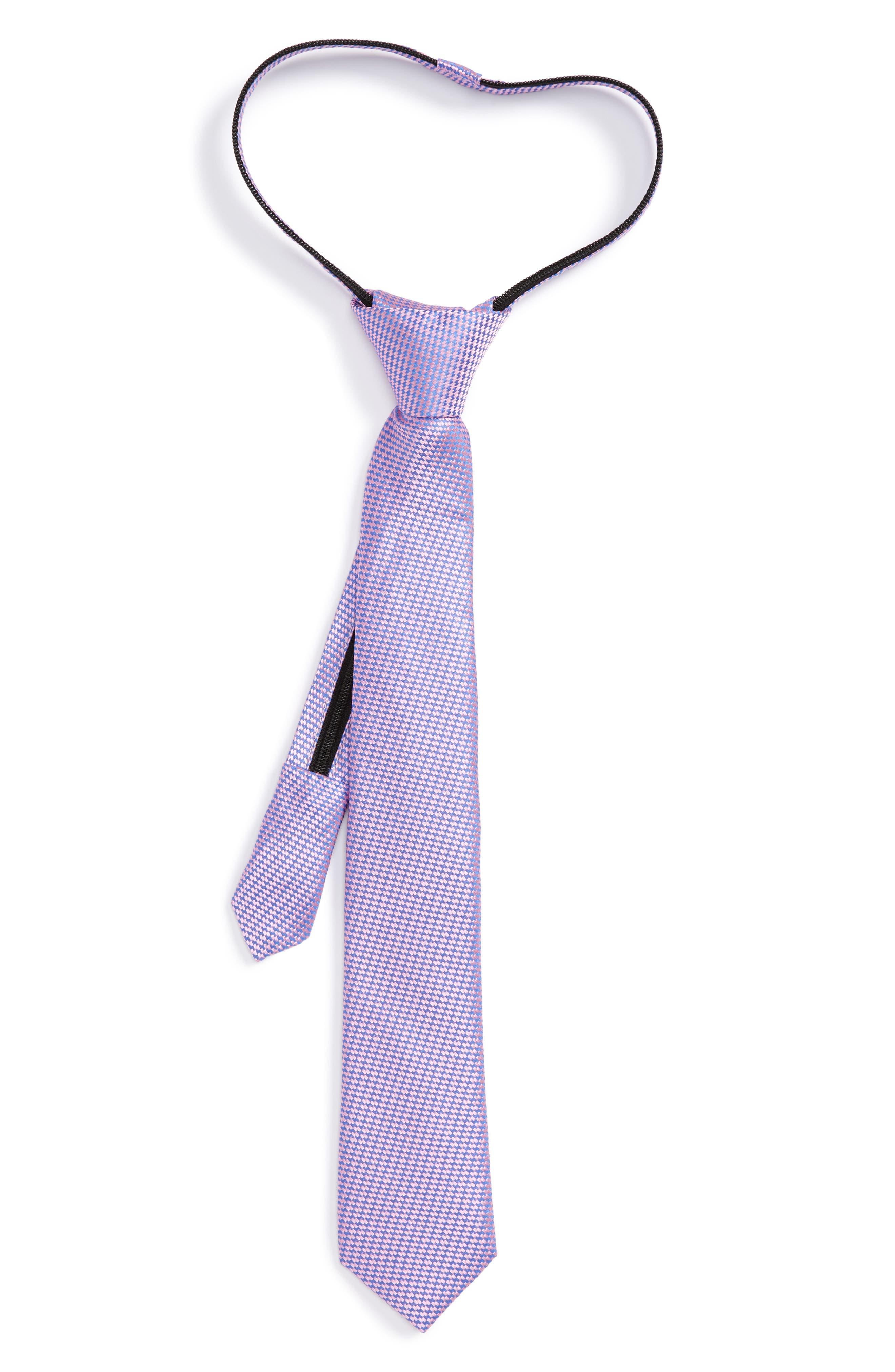 Textured Silk Zipper Tie,                         Main,                         color, Pink