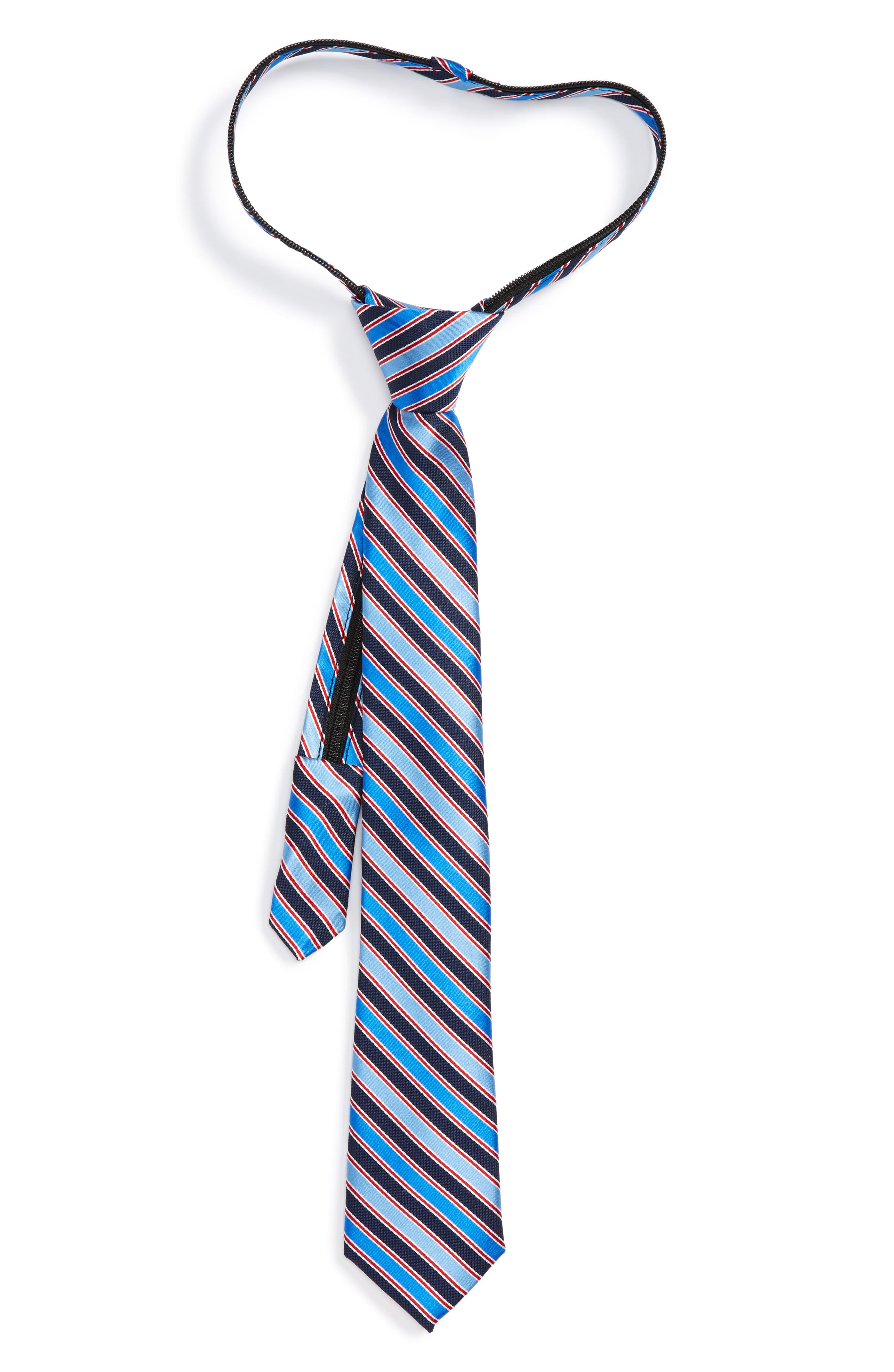 Stripe Silk Zipper Tie,                         Main,                         color, Blue Stripe