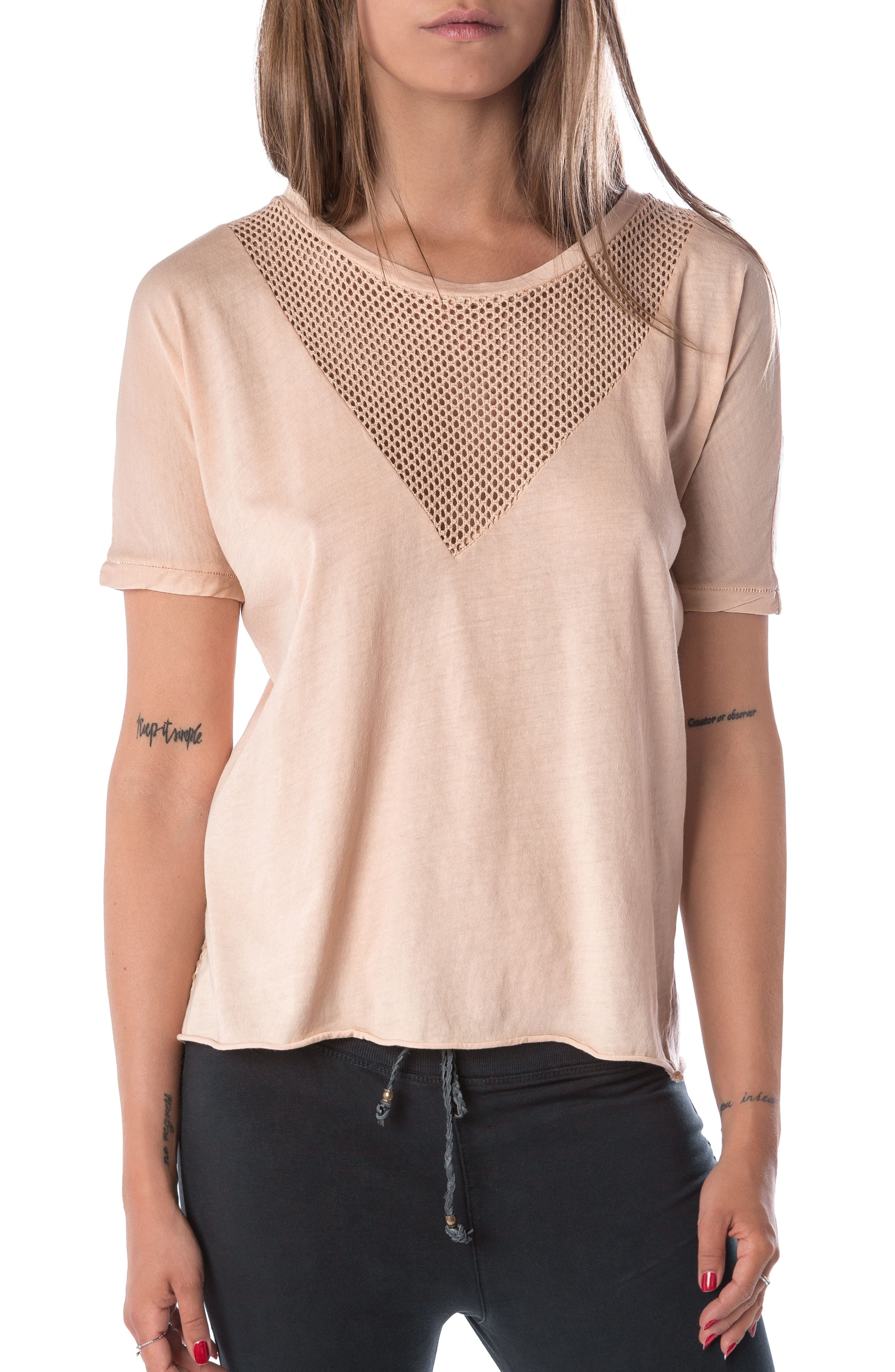 Vintage Mesh Tee,                             Main thumbnail 1, color,                             Nude