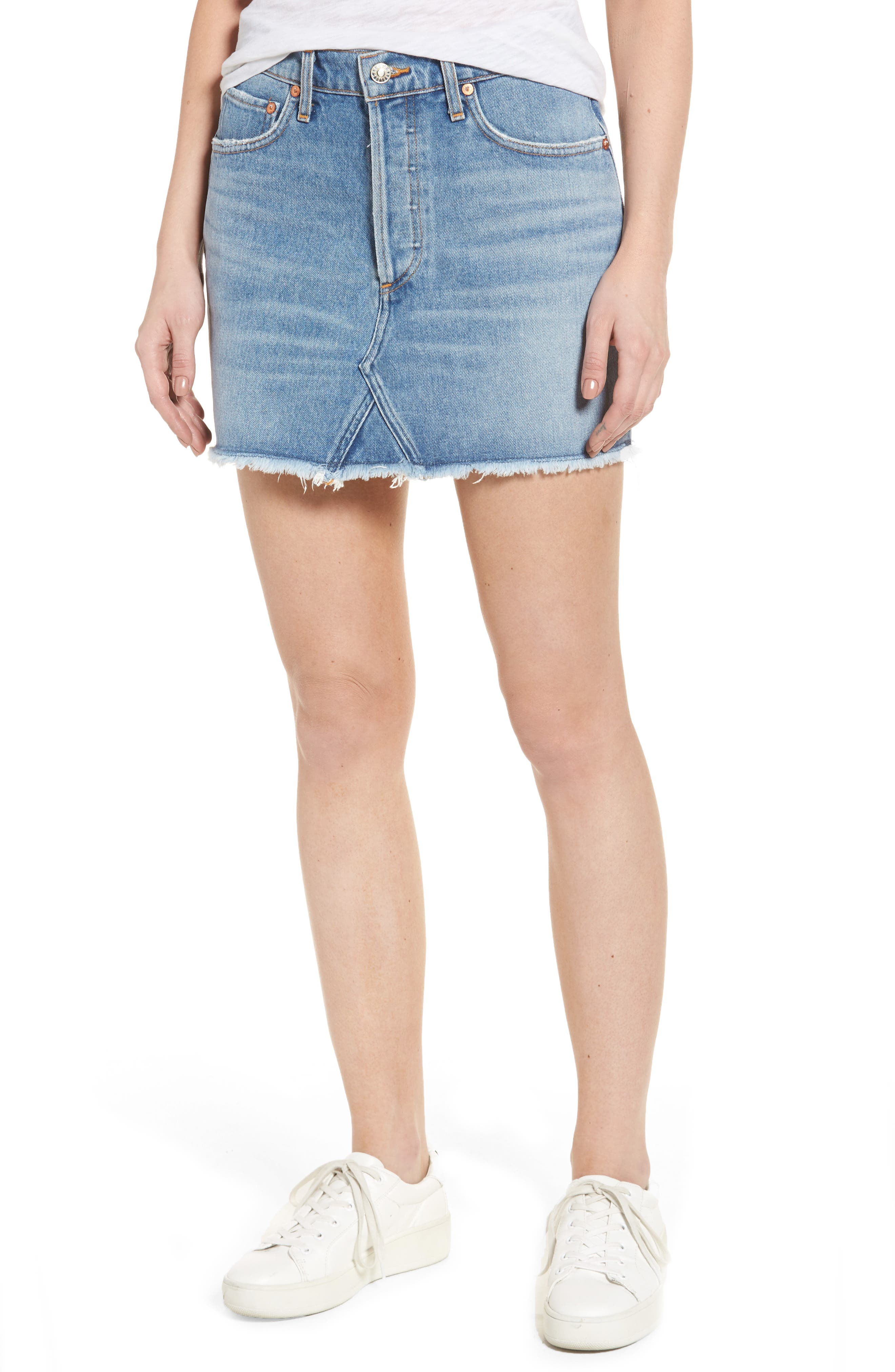 Quinn High Waist Denim Miniskirt,                             Main thumbnail 1, color,                             Devotee