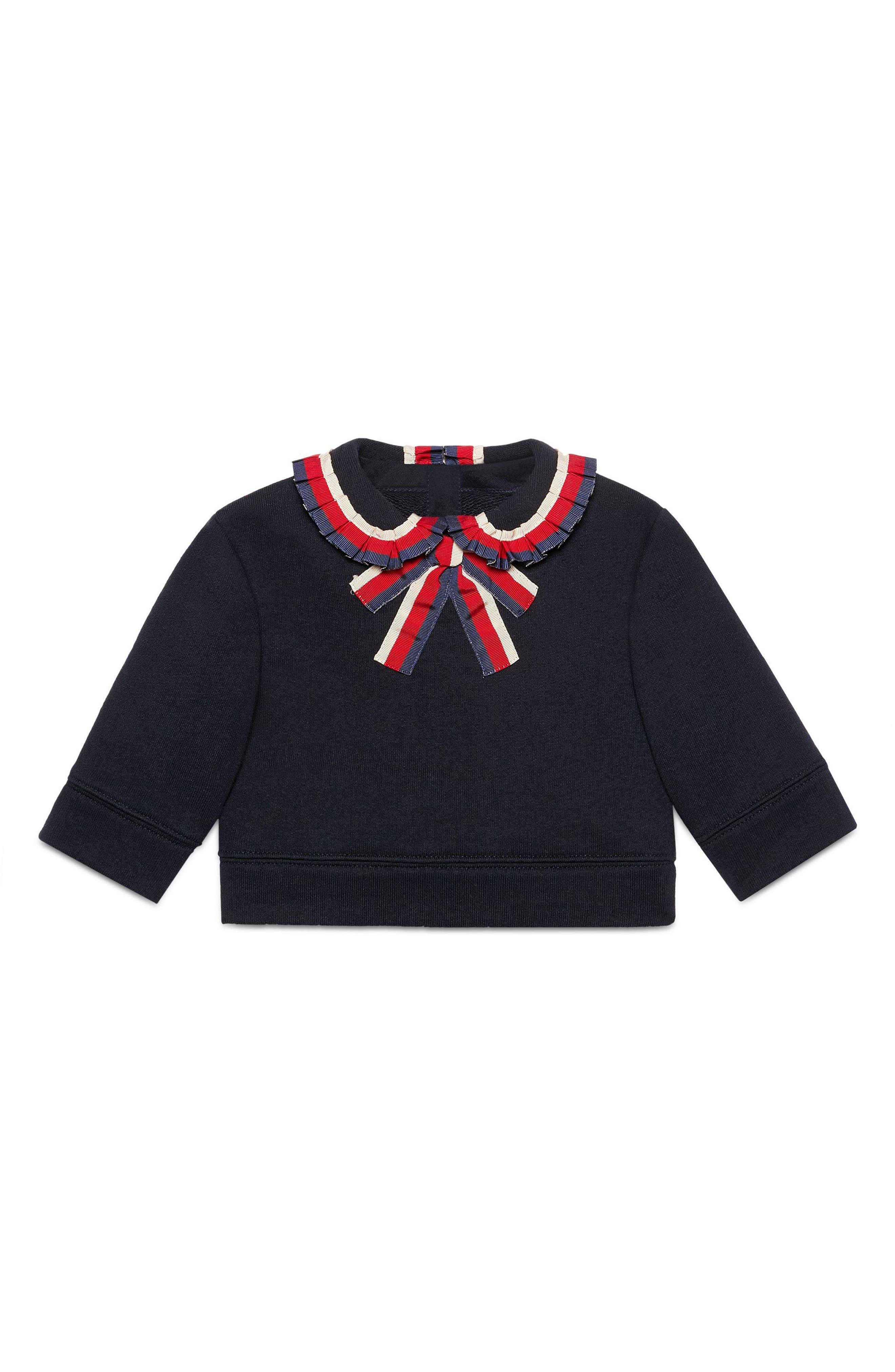 Gucci Sylvie Ribbon Trim Sweatshirt (Baby Girls)