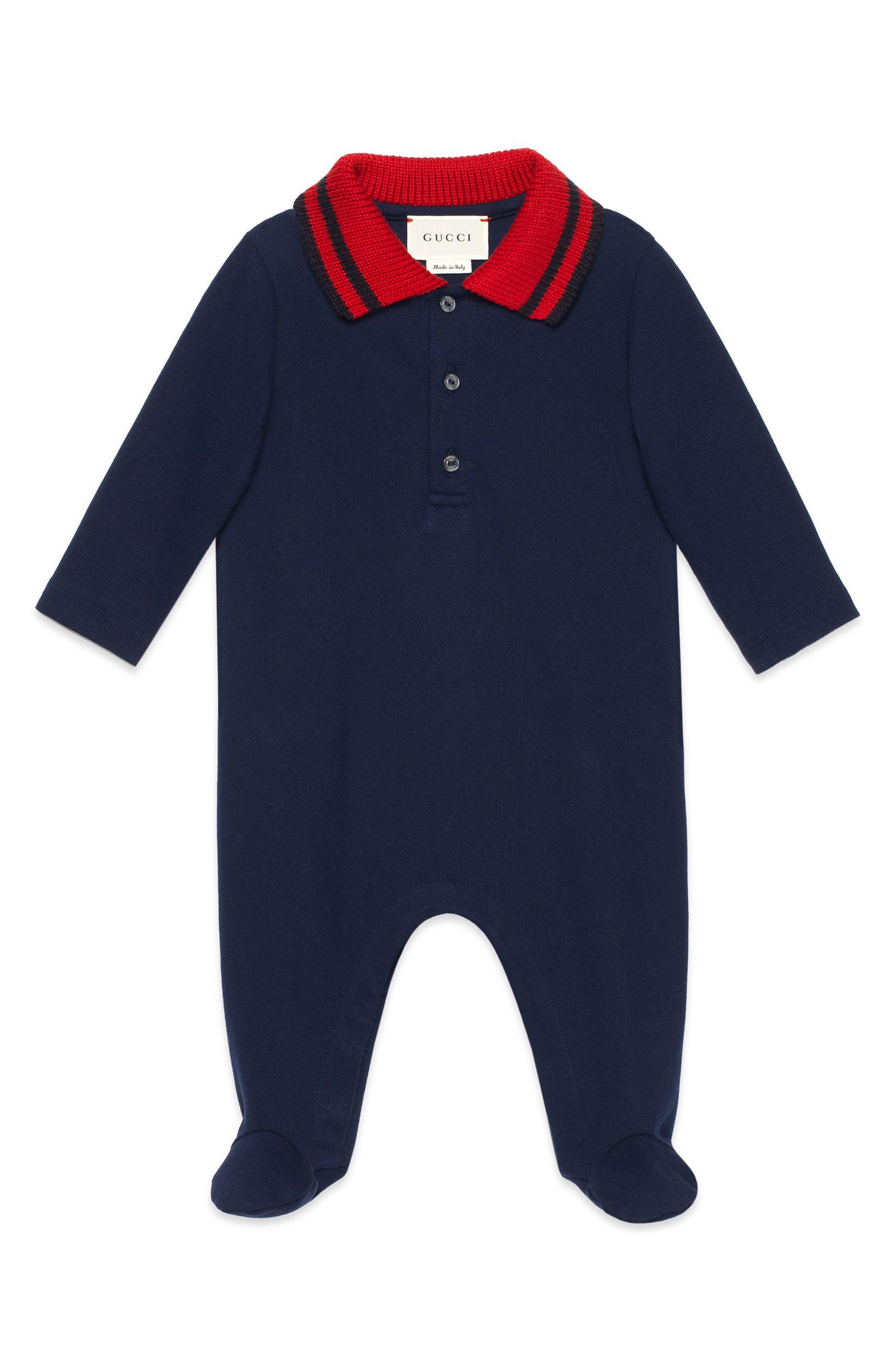 Gucci Stripe Collar Footie (Baby)
