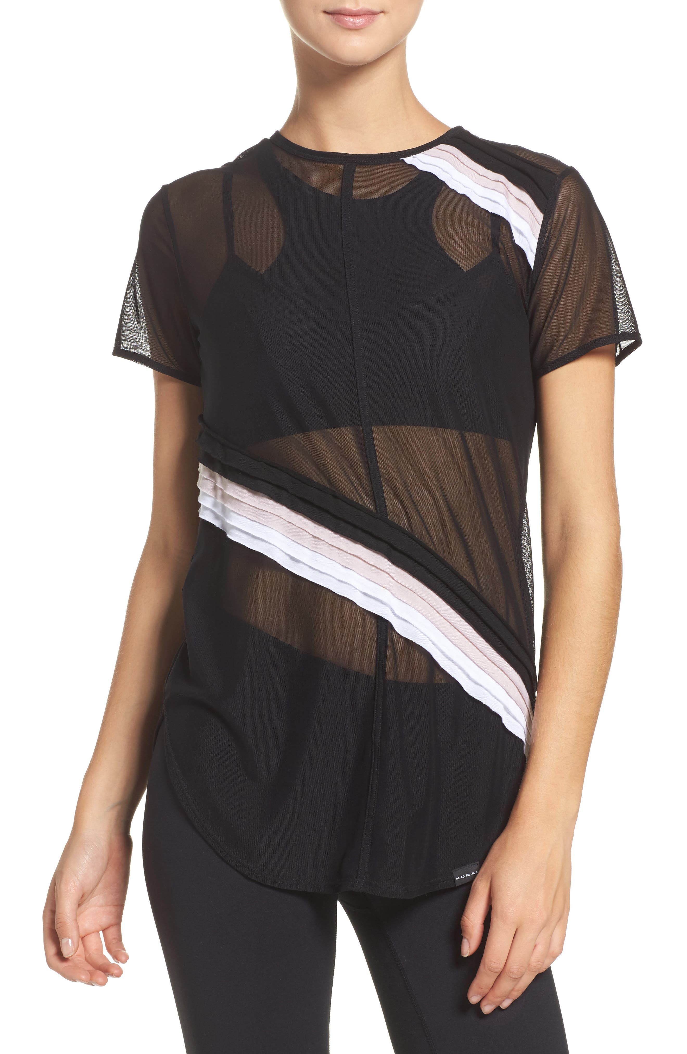 Cross Cut Mesh Tee,                         Main,                         color, Black