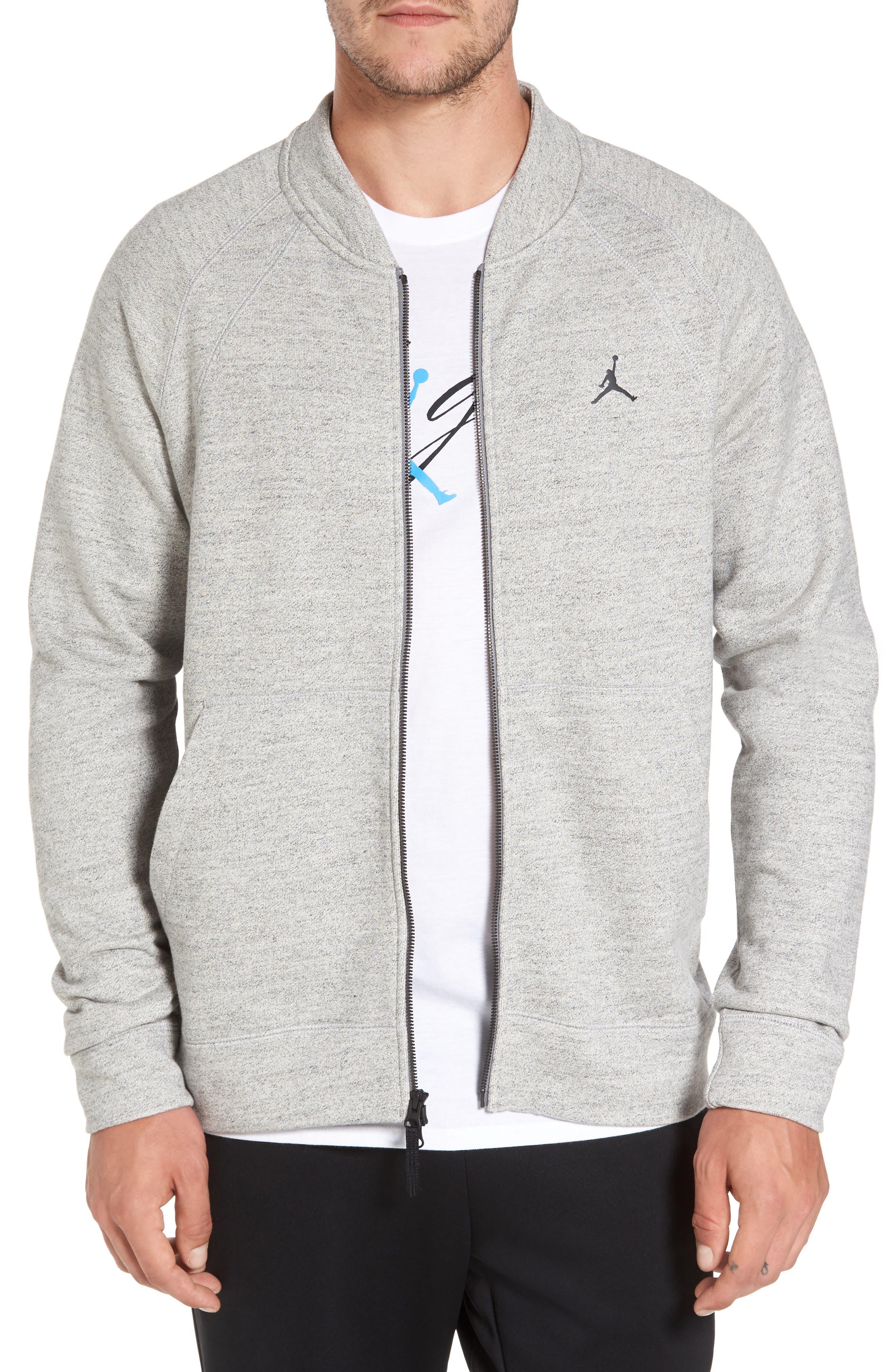 Sportswear Wings Fleece Bomber Jacket,                             Main thumbnail 1, color,                             Dark Grey Heather/ Black