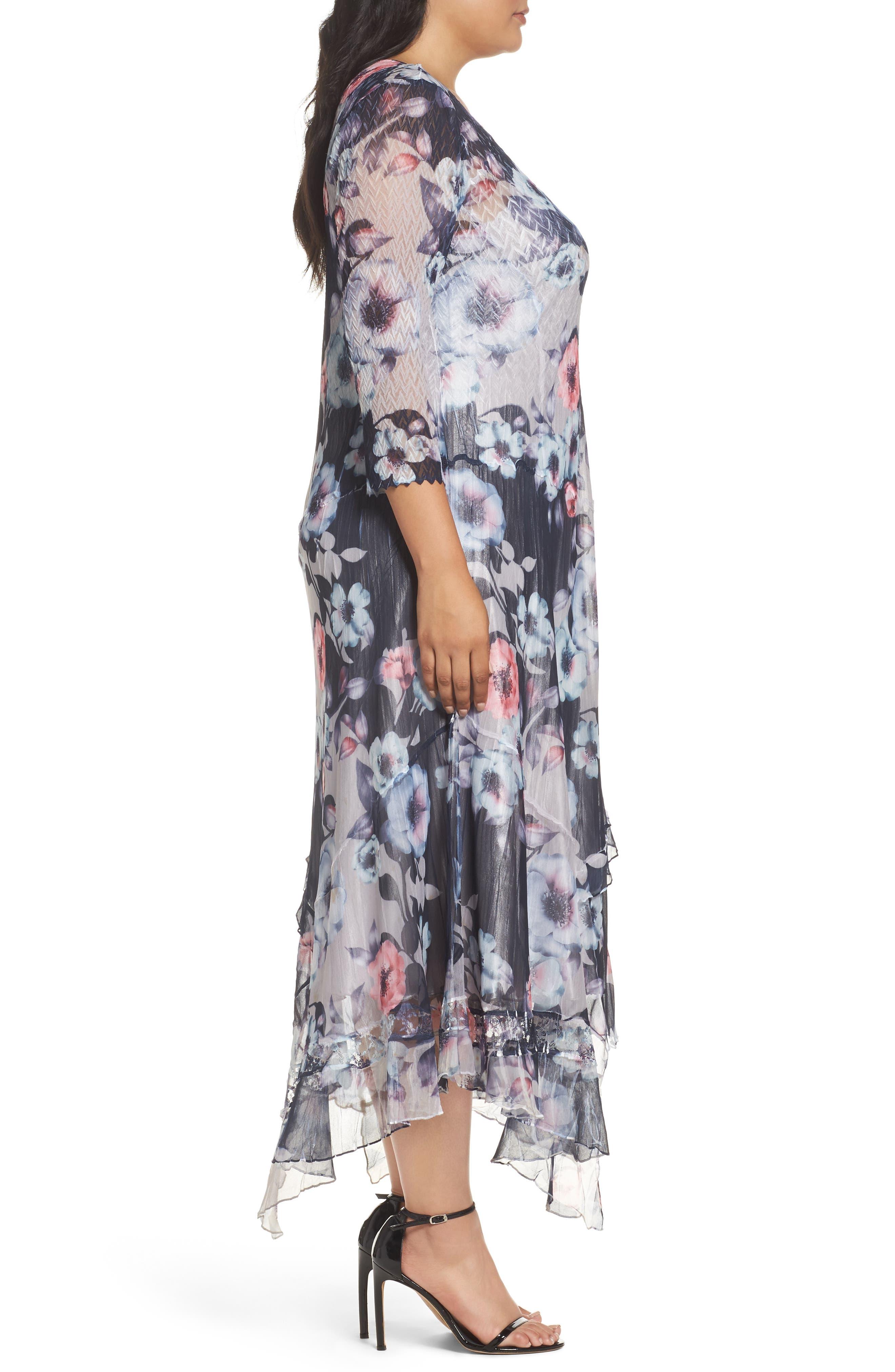 Handkerchief Hem Floral Charmeuse & Chiffon Dress,                             Alternate thumbnail 3, color,                             Celestial Vine