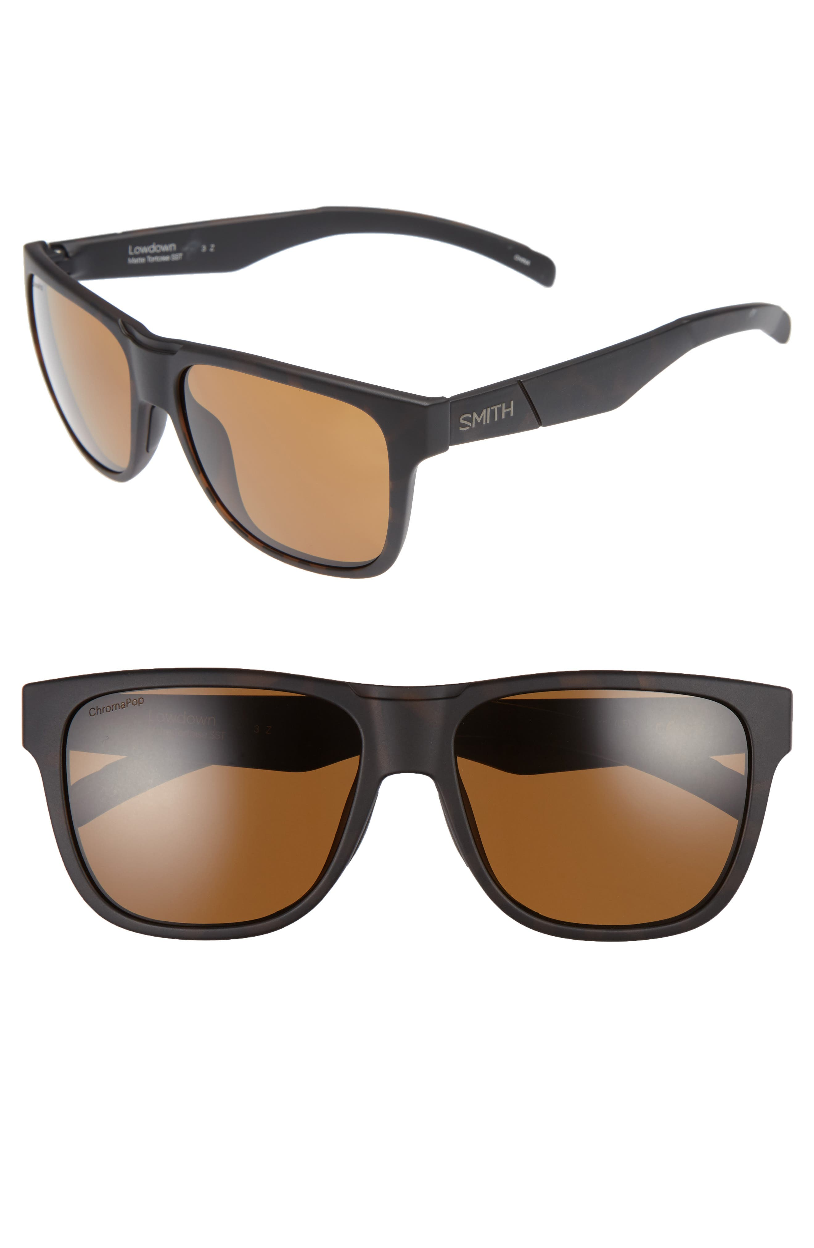Lowdown 56mm Polarized Sunglasses,                         Main,                         color, Matte Tortoise