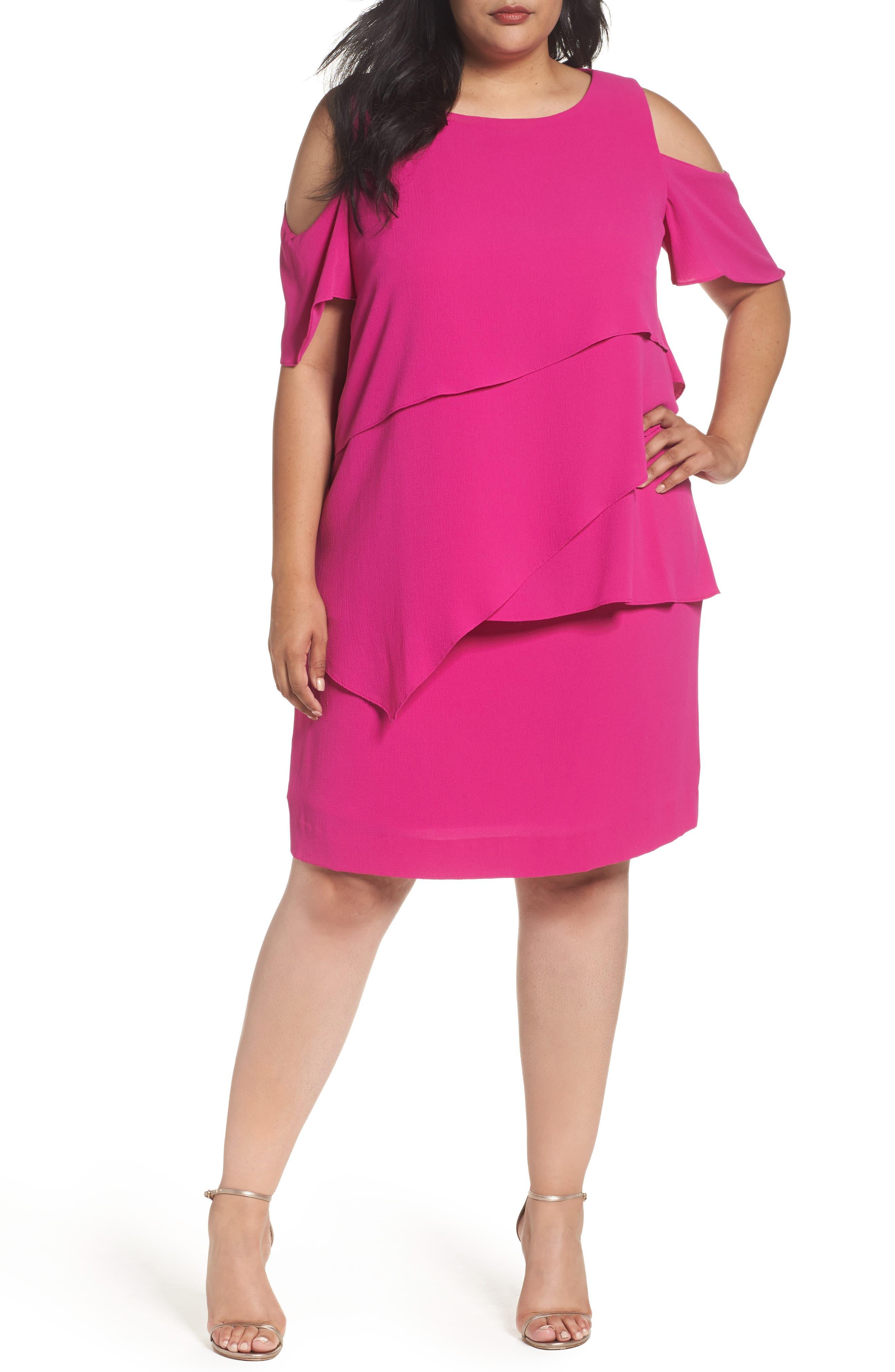 Asymmetrical Tier Cold Shoulder Shift Dress,                         Main,                         color, Magenta