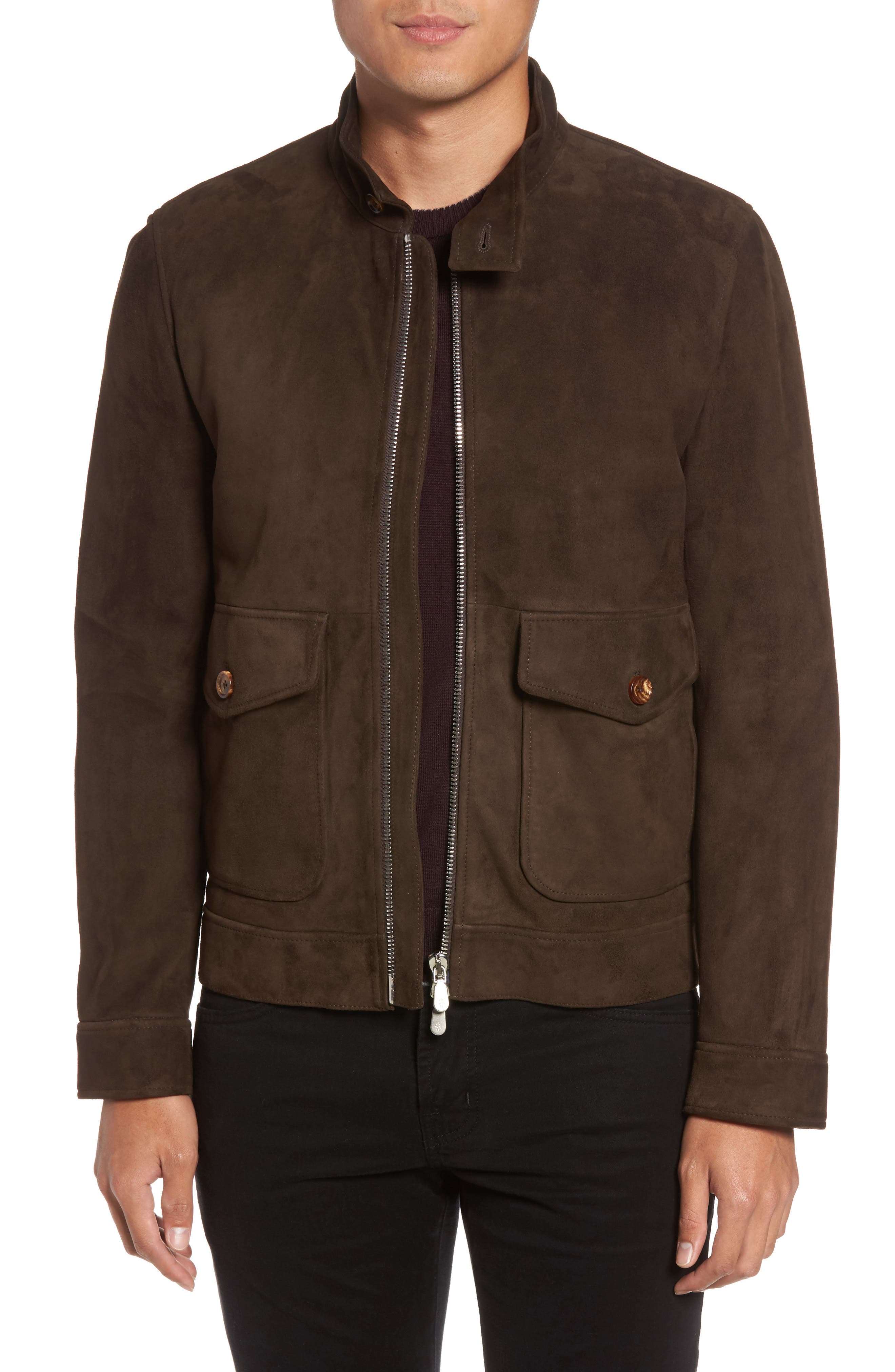 Suede Jacket,                             Main thumbnail 1, color,                             Chocolate Brown