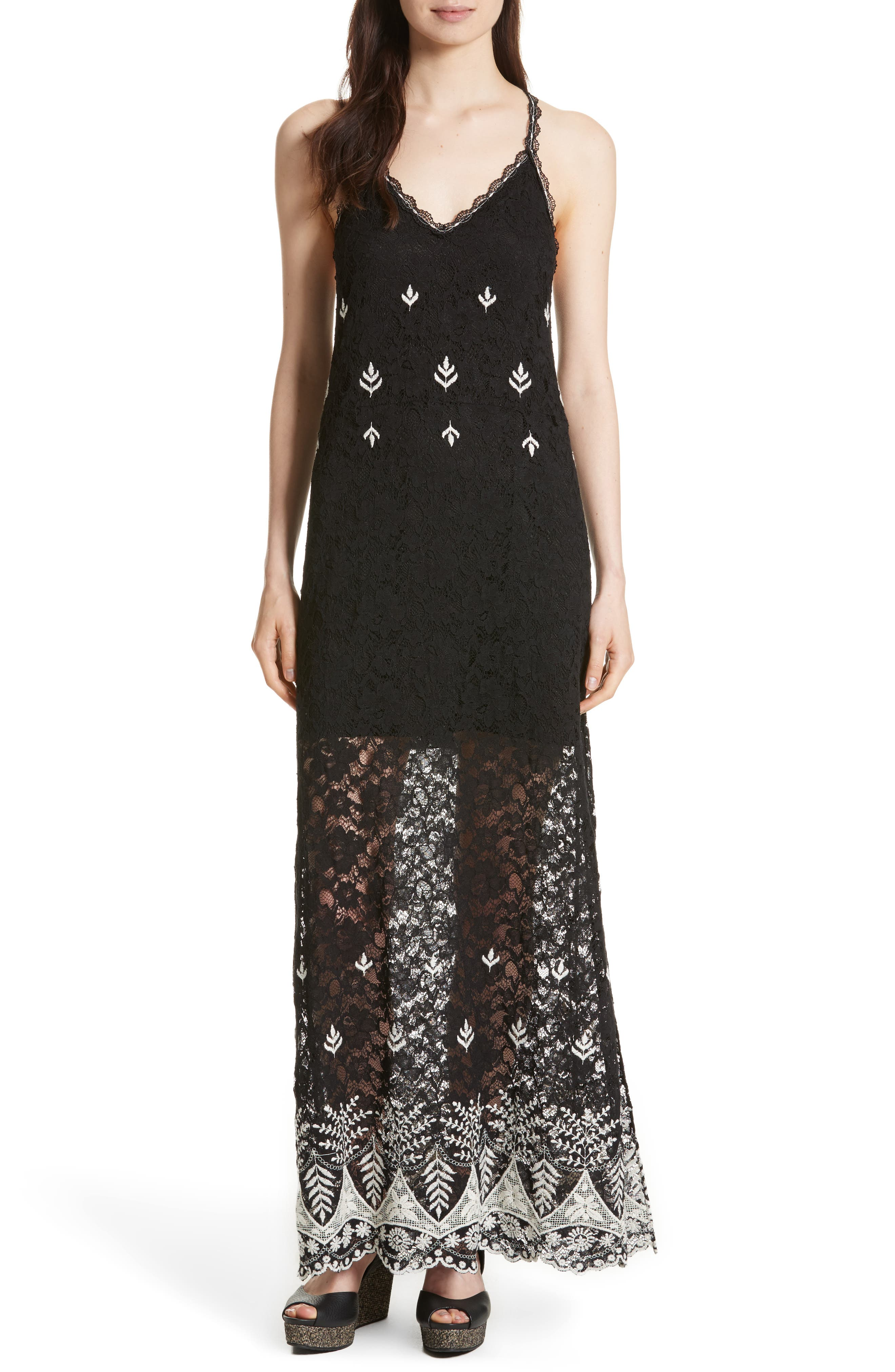 Alice + Olivia Sally Embroidered Lace Maxi Slipdress