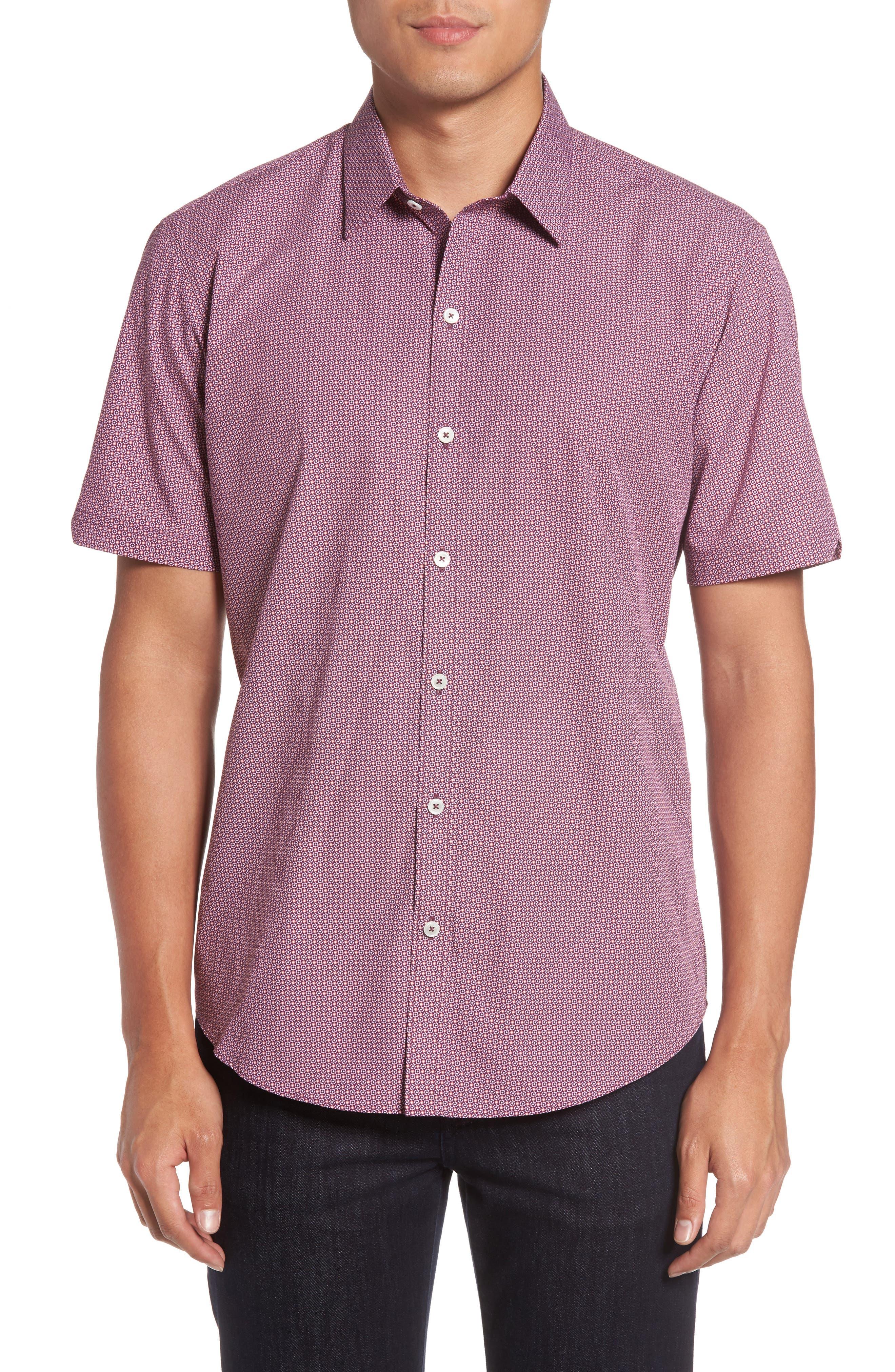 Riddle Slim Fit Print Sport Shirt,                         Main,                         color, Maroon