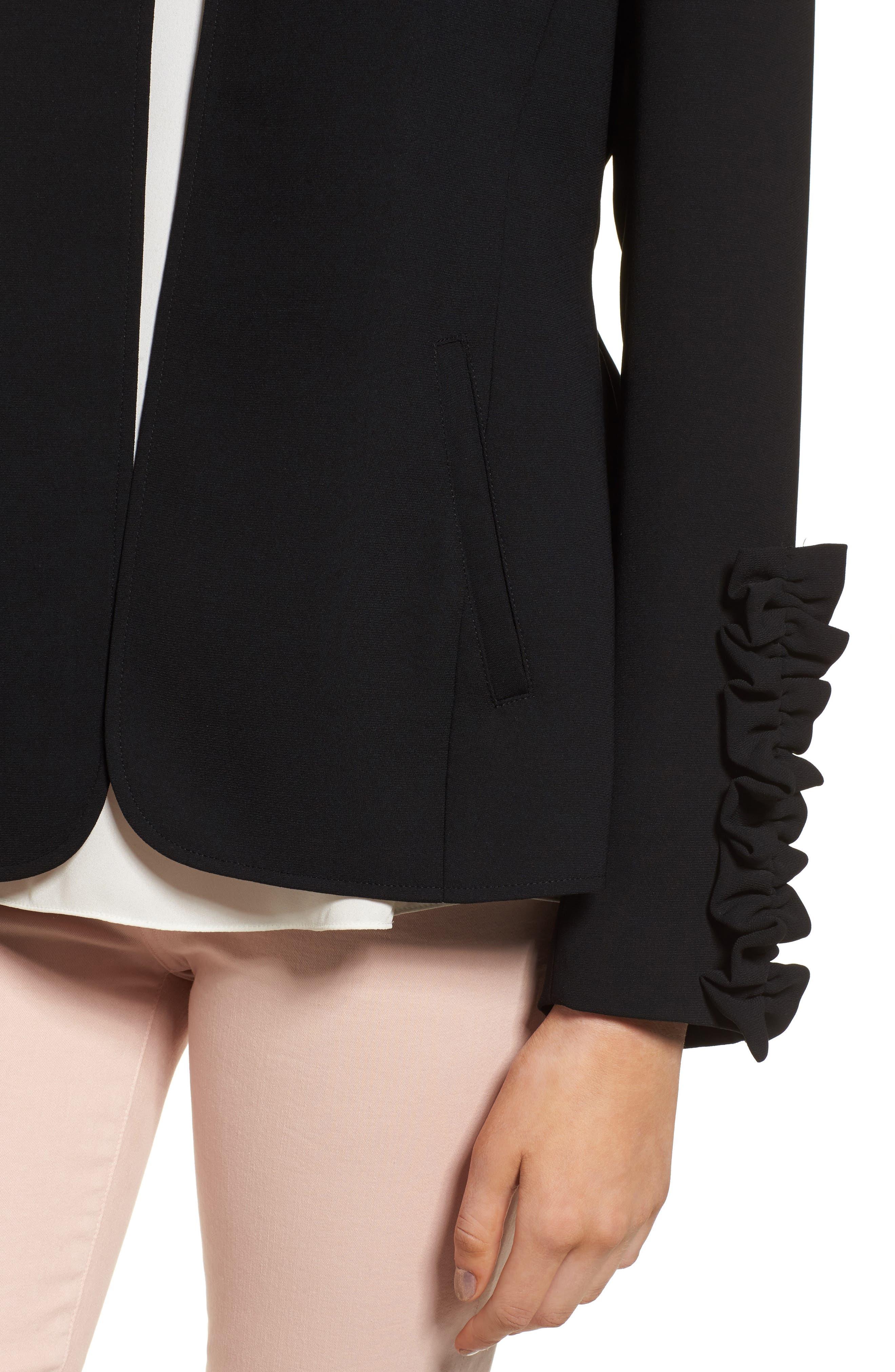 Ruffle Sleeve Blazer,                             Alternate thumbnail 4, color,                             Black