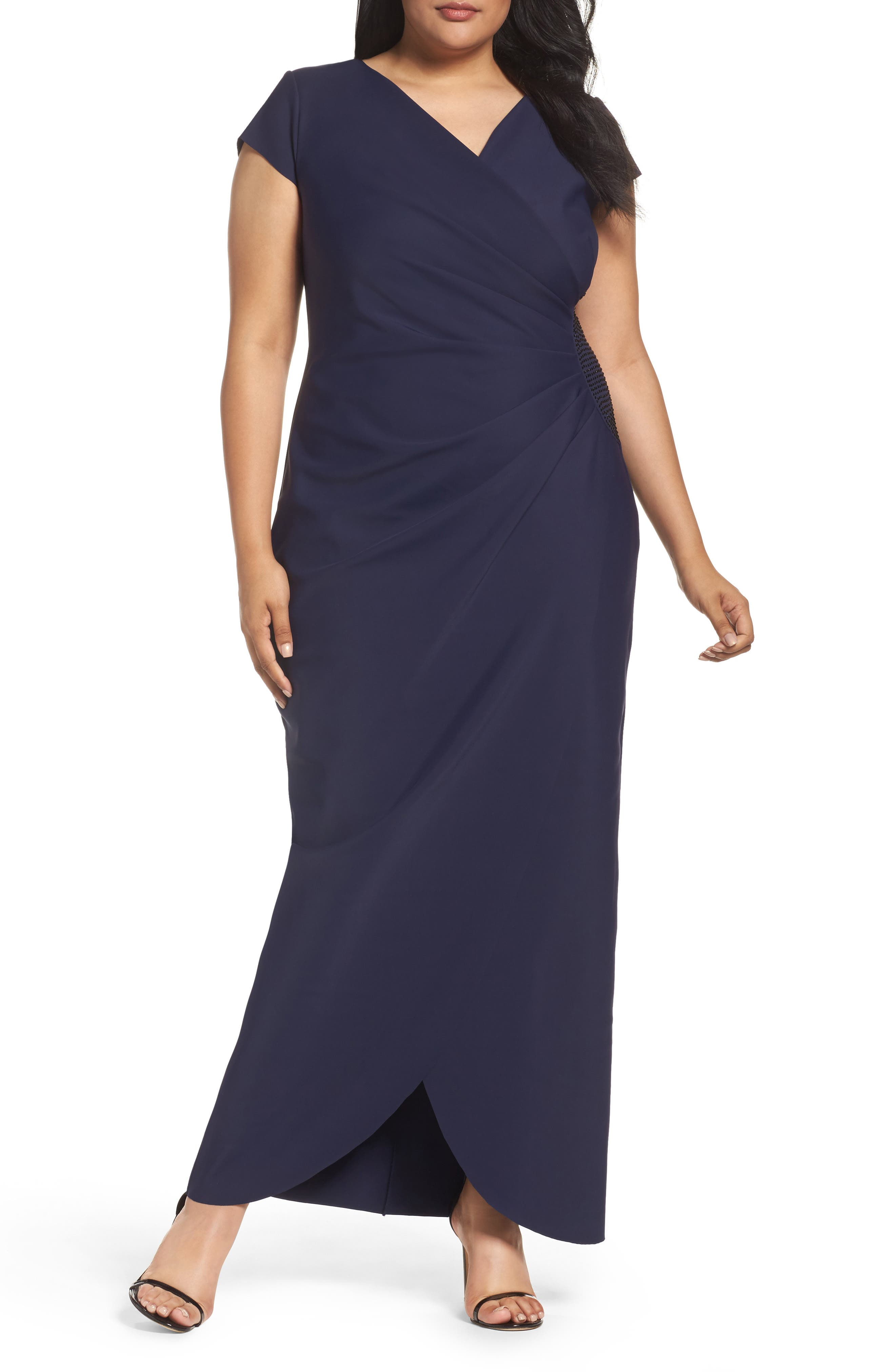 Main Image - Alex Evenings Embellished Side Pleat Column Gown (Plus Size)
