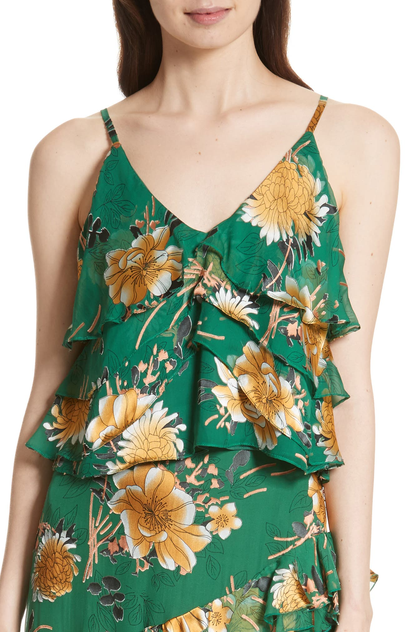 Vanessa Tiered Floral Camisole,                             Main thumbnail 1, color,                             Ivy Multi