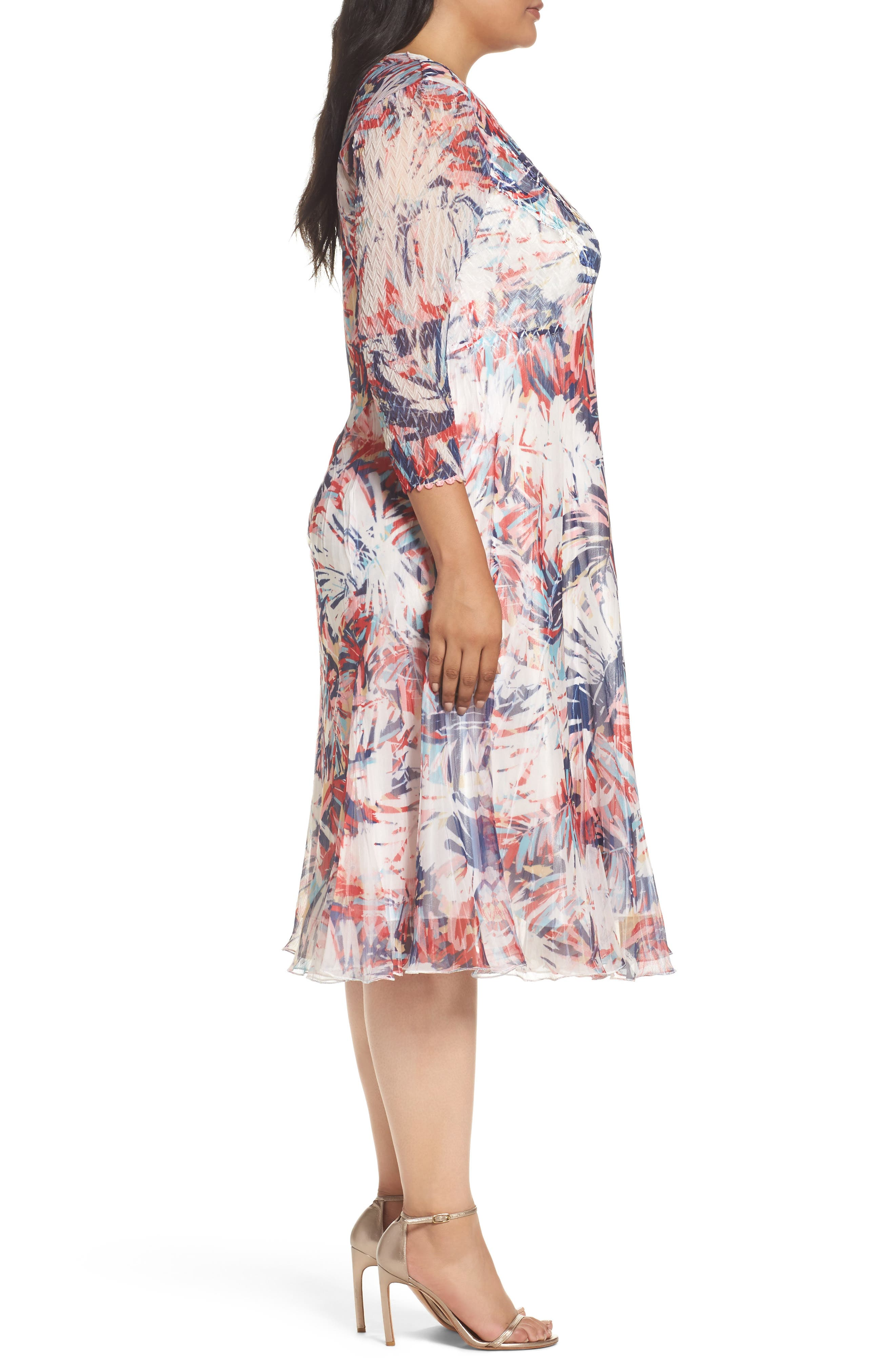 Print Chiffon A-Line Dress,                             Alternate thumbnail 3, color,                             Havana Palms