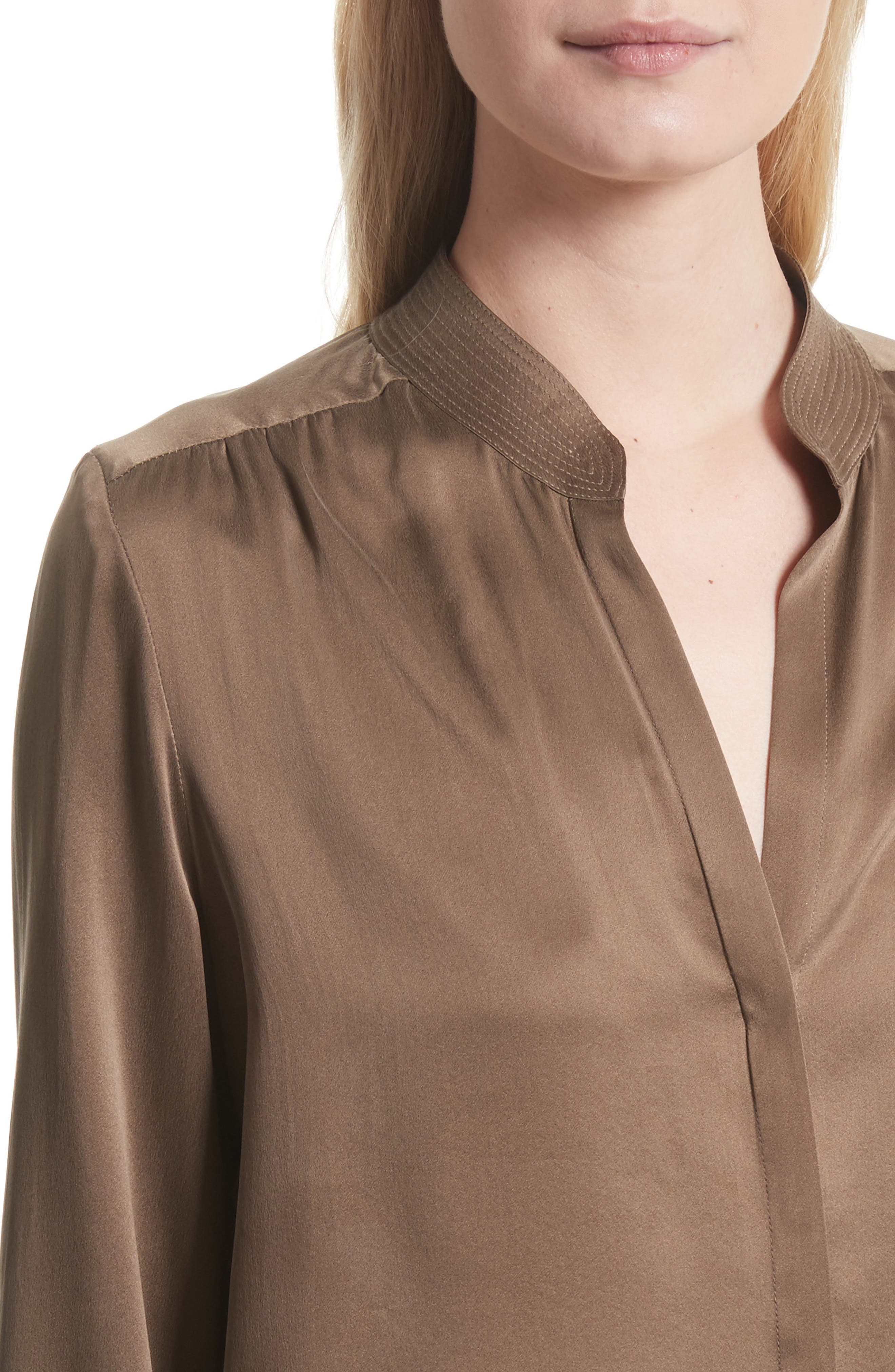 Bianca Silk Blouse,                             Alternate thumbnail 4, color,                             Washed Brown