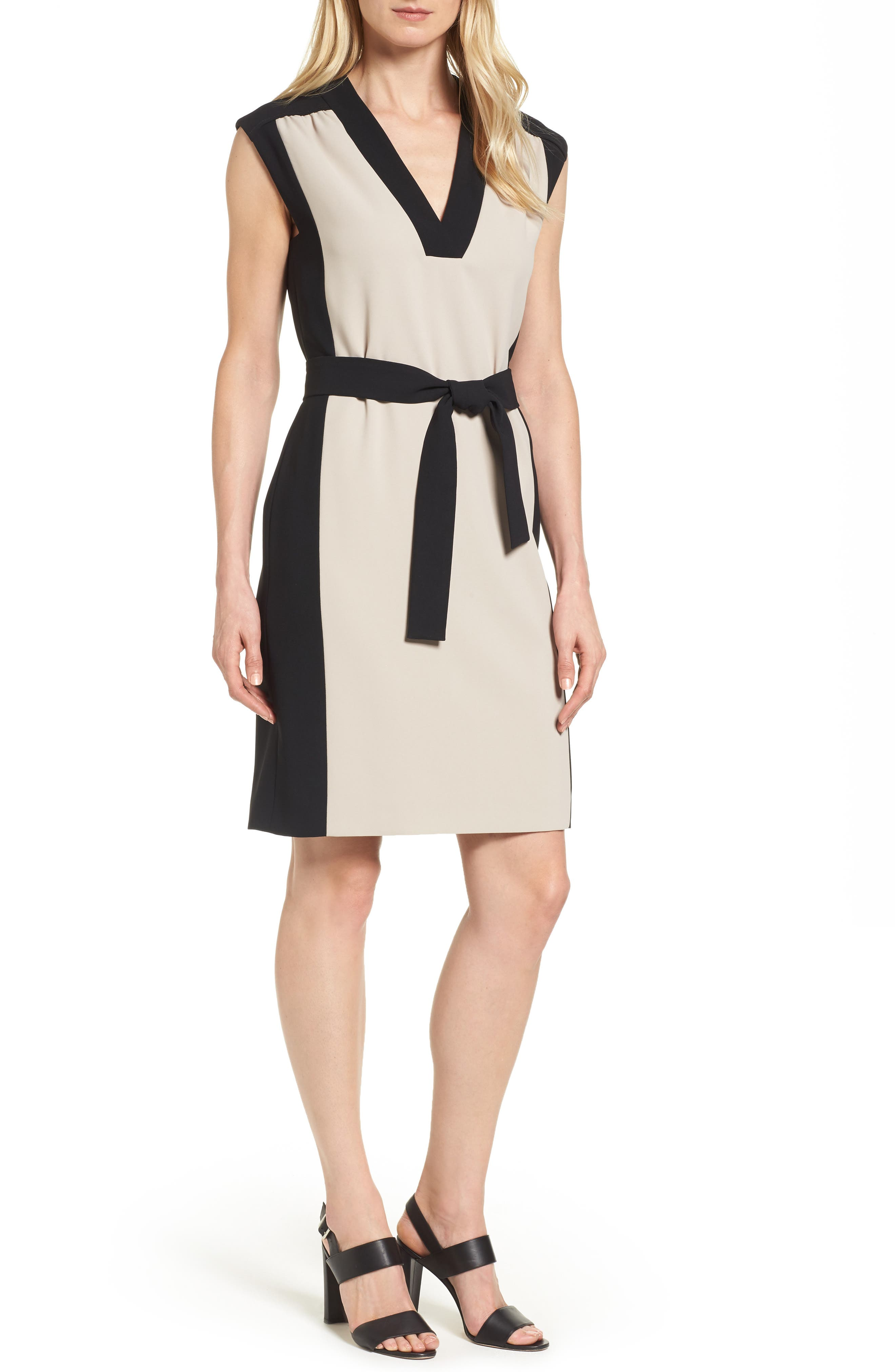 BOSS Hakordia1 Belted Colorblock Crepe Dress