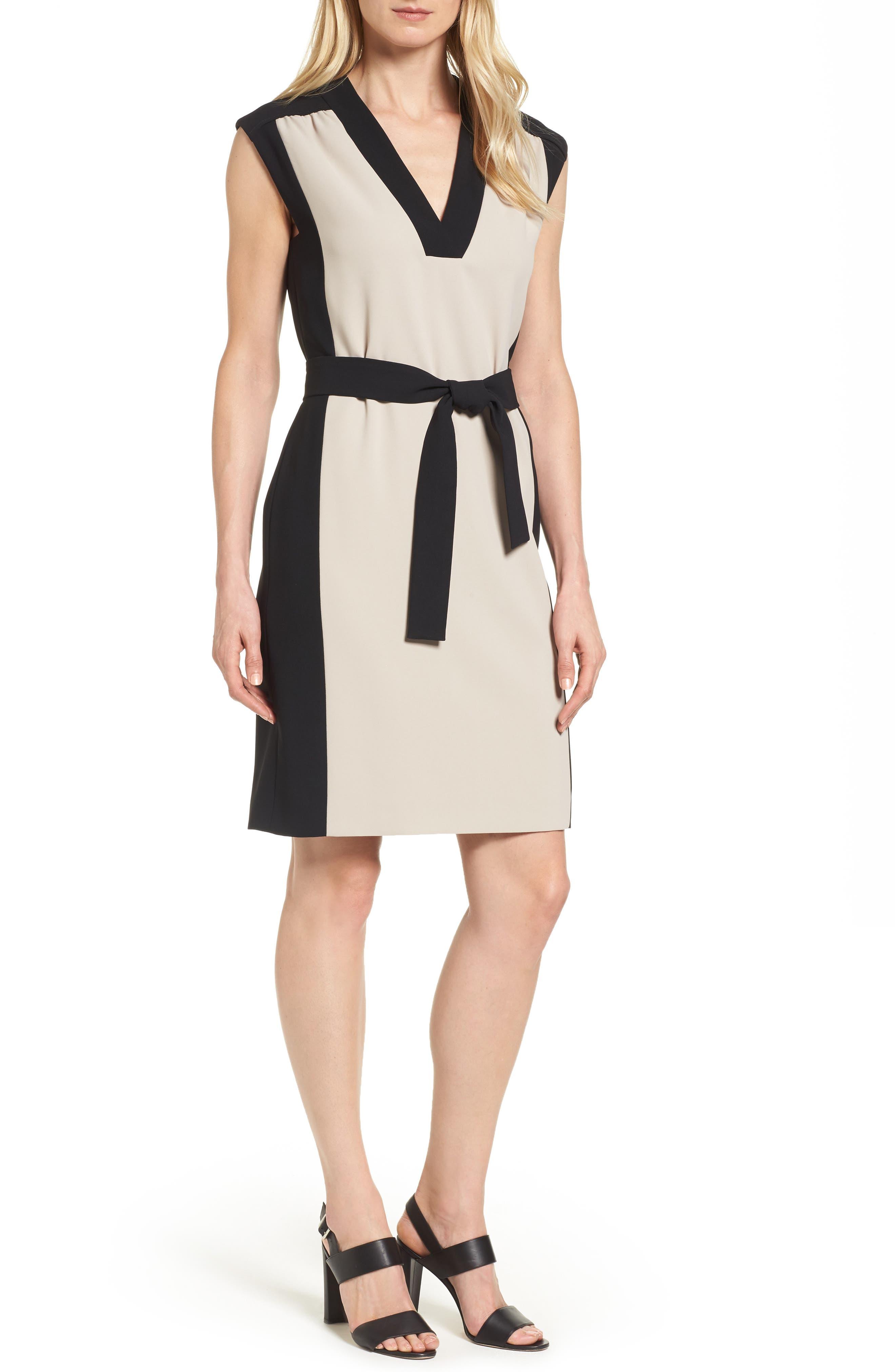 BOSS Hakordia1 Belted Colorblock Crepe Dress