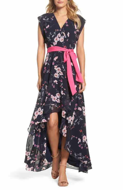 338855637 Eliza J High/Low Floral Faux Wrap Maxi Dress (Regular & Petite)