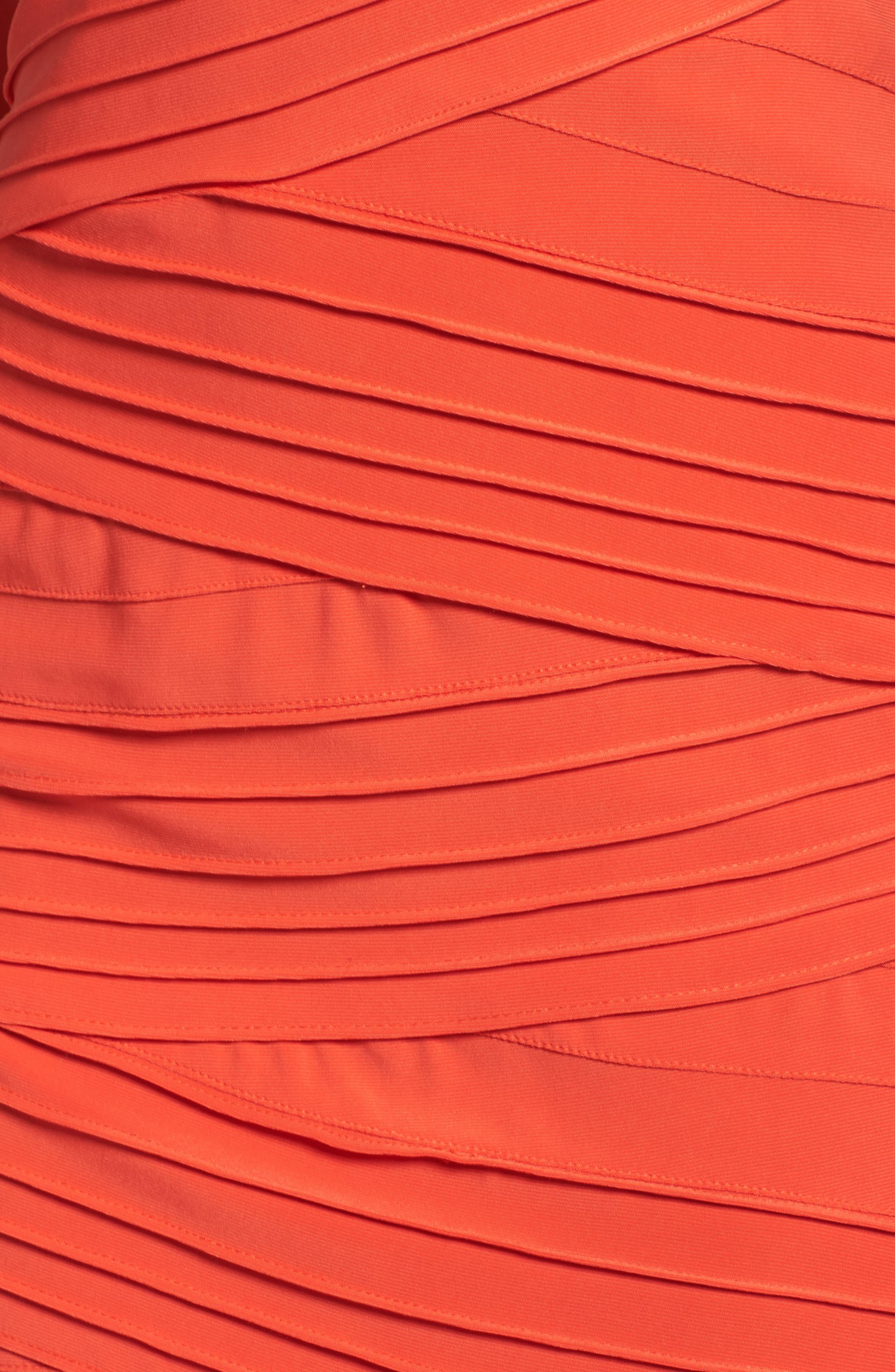 Banded Body-Con Dress,                             Alternate thumbnail 5, color,                             Fire Orange