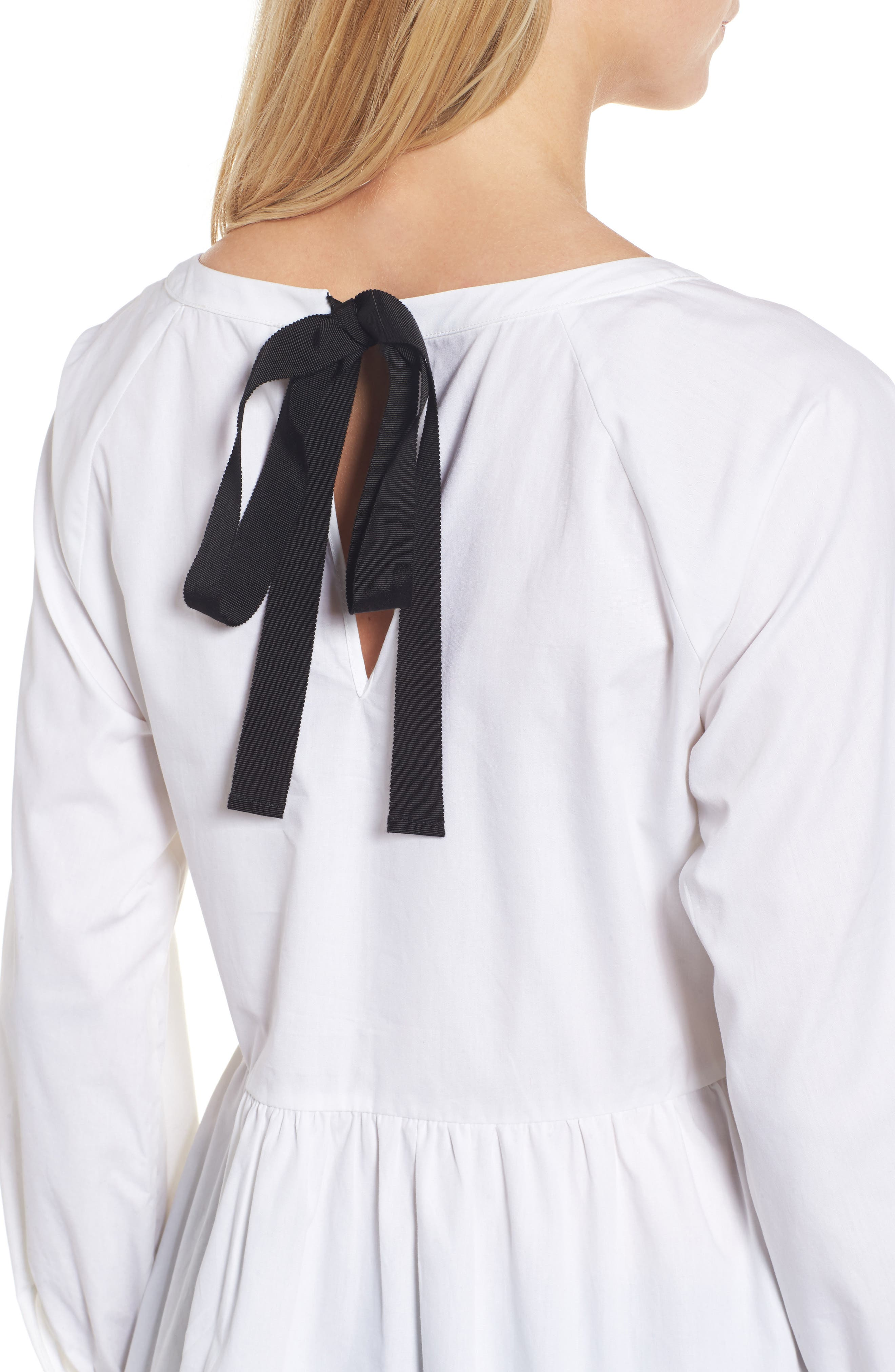 Tie Back Poplin Tunic,                             Alternate thumbnail 4, color,                             White
