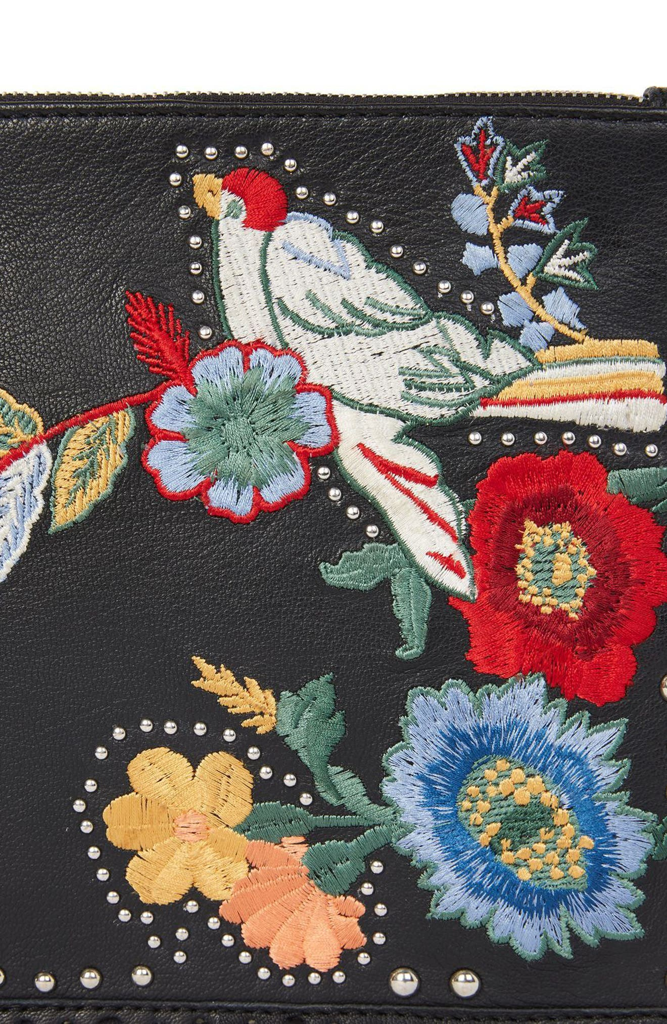 Alternate Image 5  - Topshop Oto Embroidered Leather Crossbody Bag