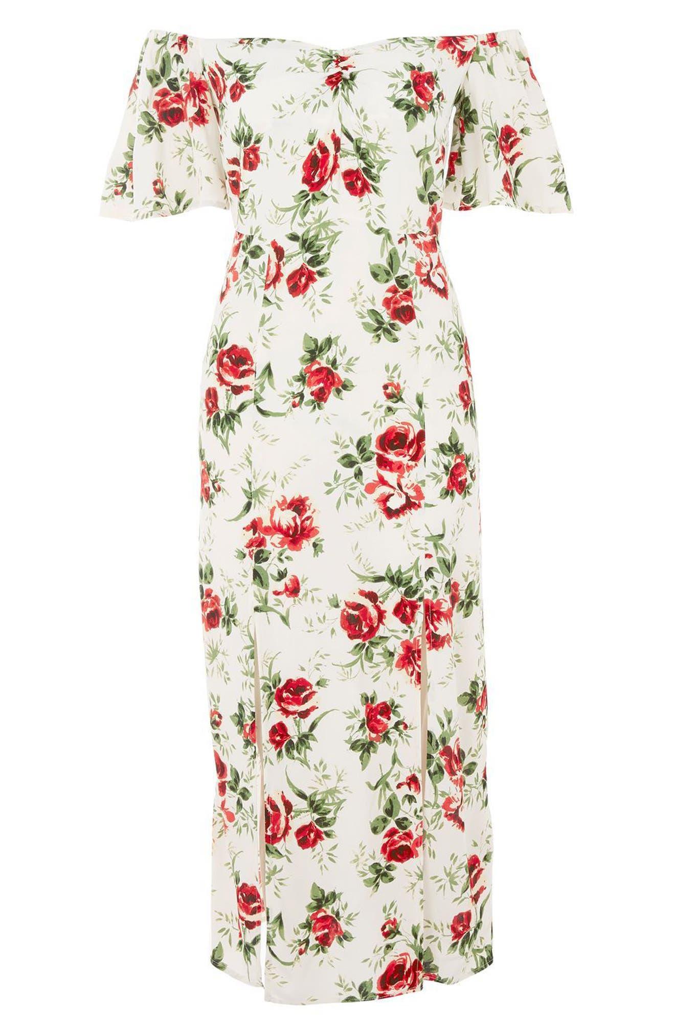 Bardot Rose Print Midi Dress,                             Alternate thumbnail 4, color,                             Ivory Multi