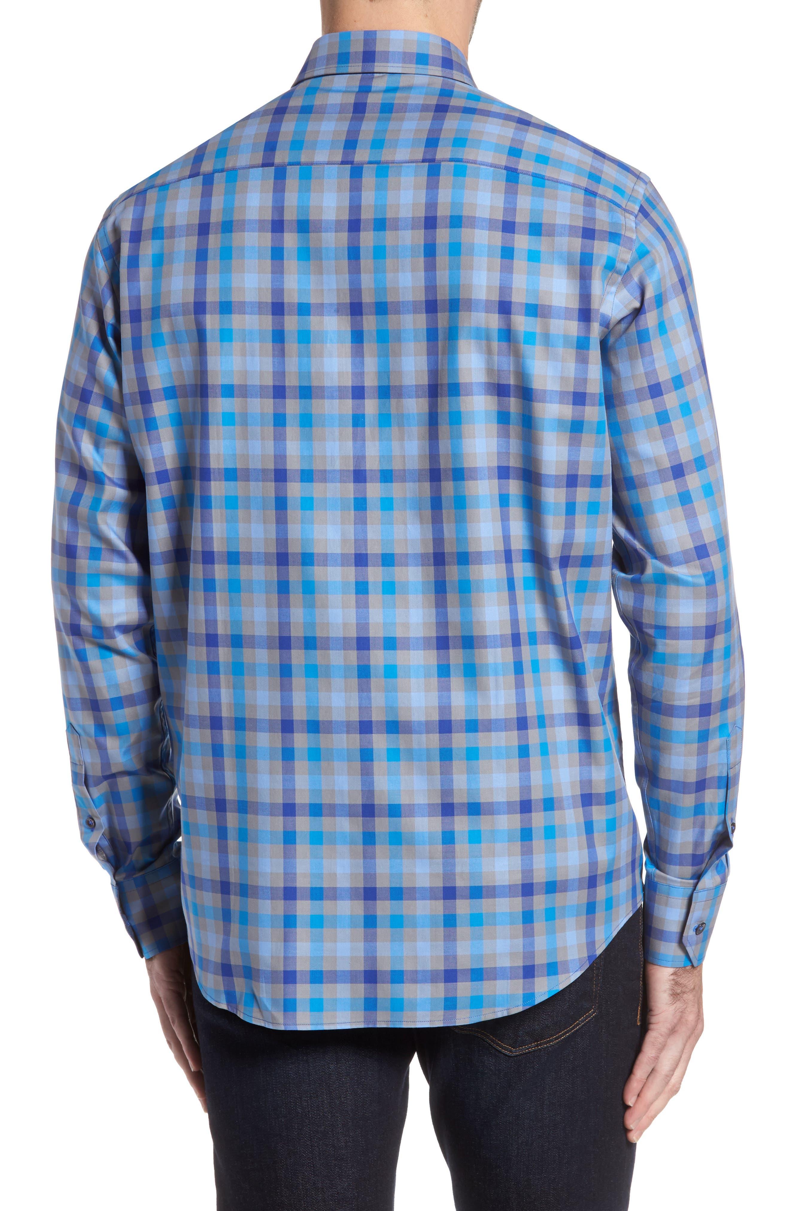 Classic Fit Check Sport Shirt,                             Alternate thumbnail 2, color,                             Platinum