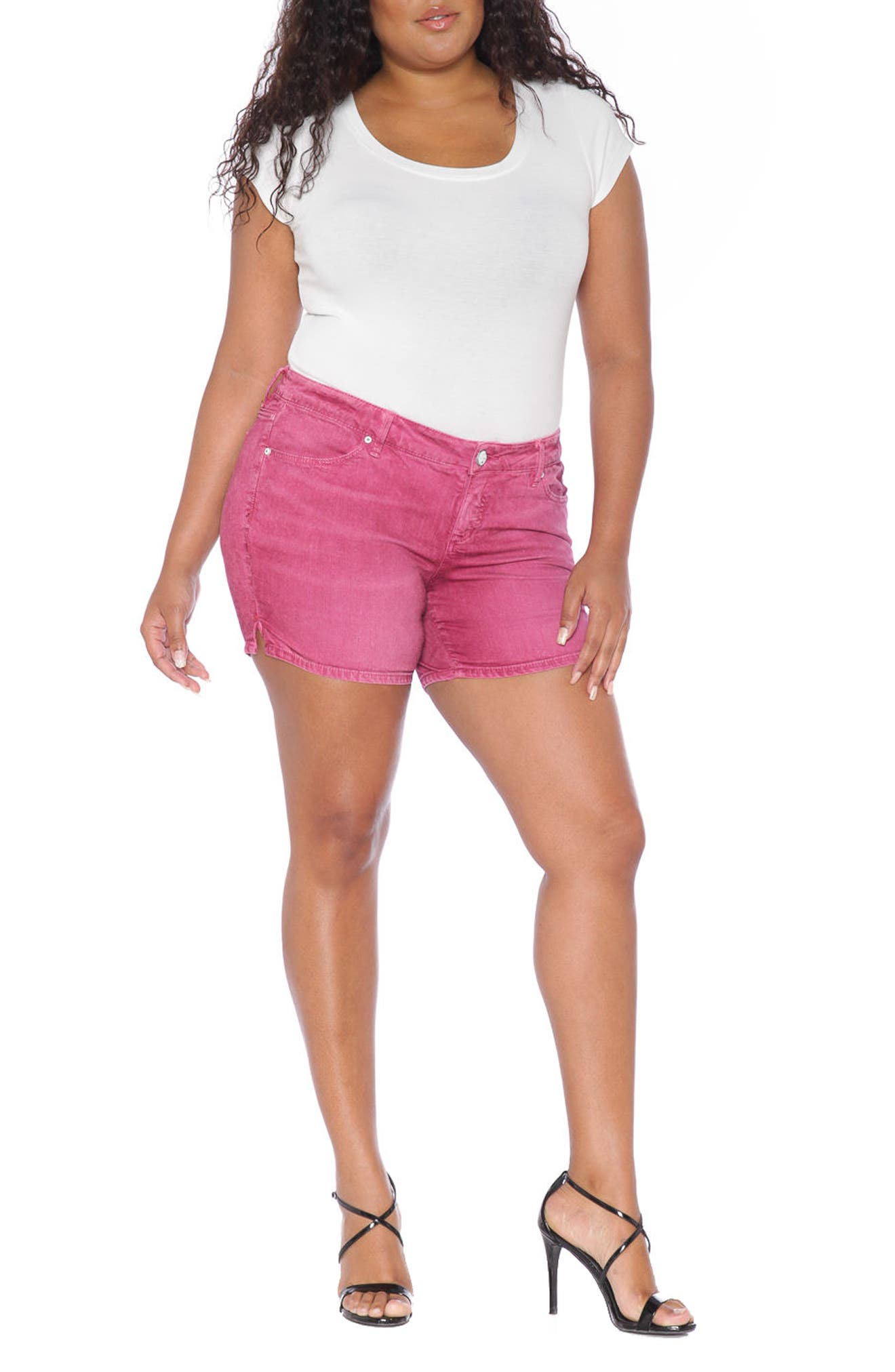 Stretch Twill Shorts,                             Alternate thumbnail 2, color,                             Berry