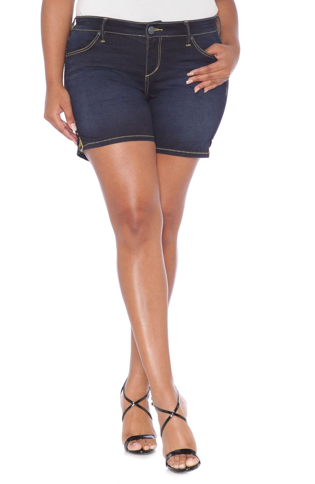 Alternate Image 1 Selected - SLINK Jeans Stretch Denim Shorts (Summer) (Plus Size)
