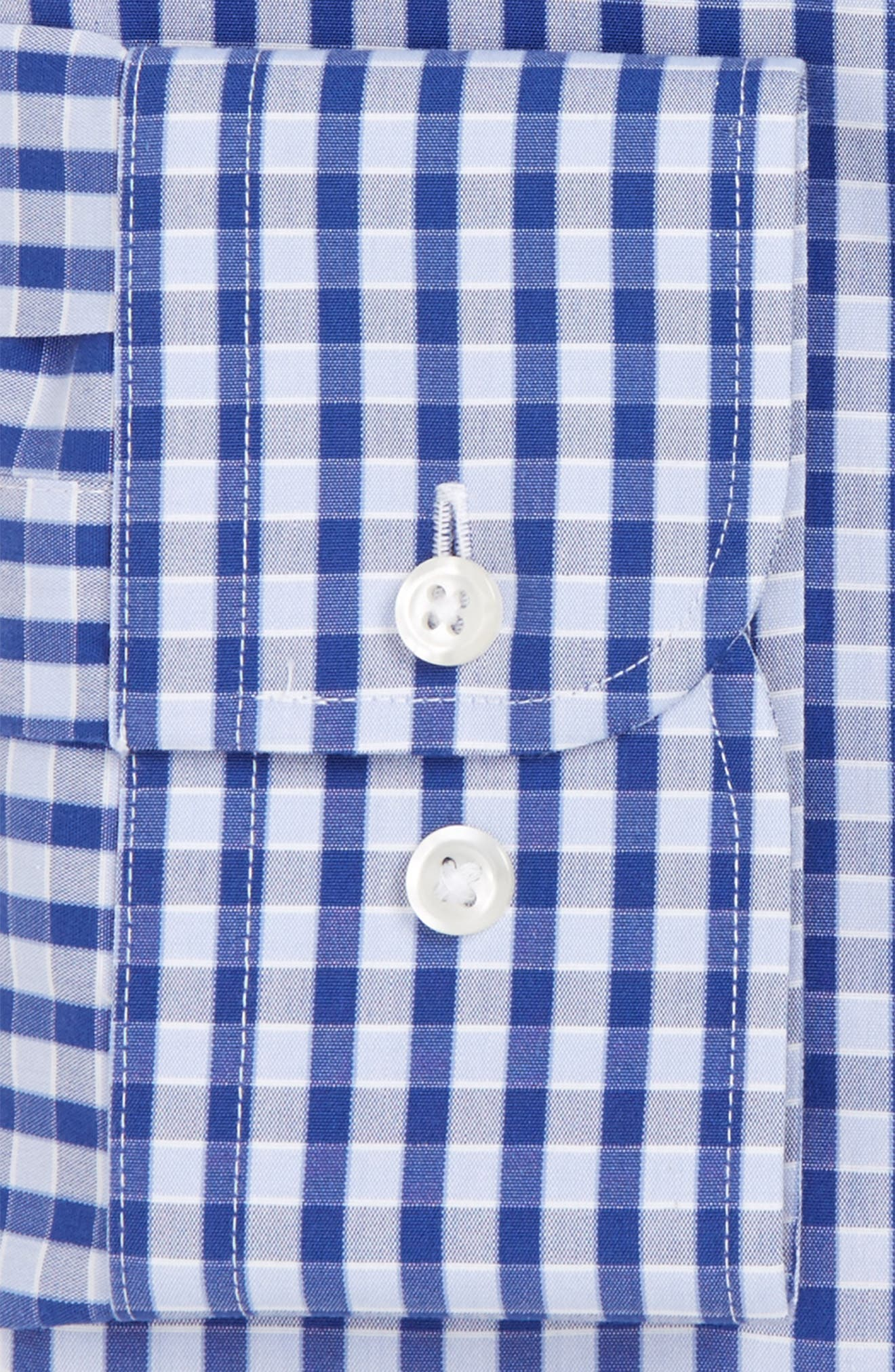 Smartcare<sup>™</sup> Trim Fit Check Dress Shirt,                             Alternate thumbnail 4, color,                             Blue Marine