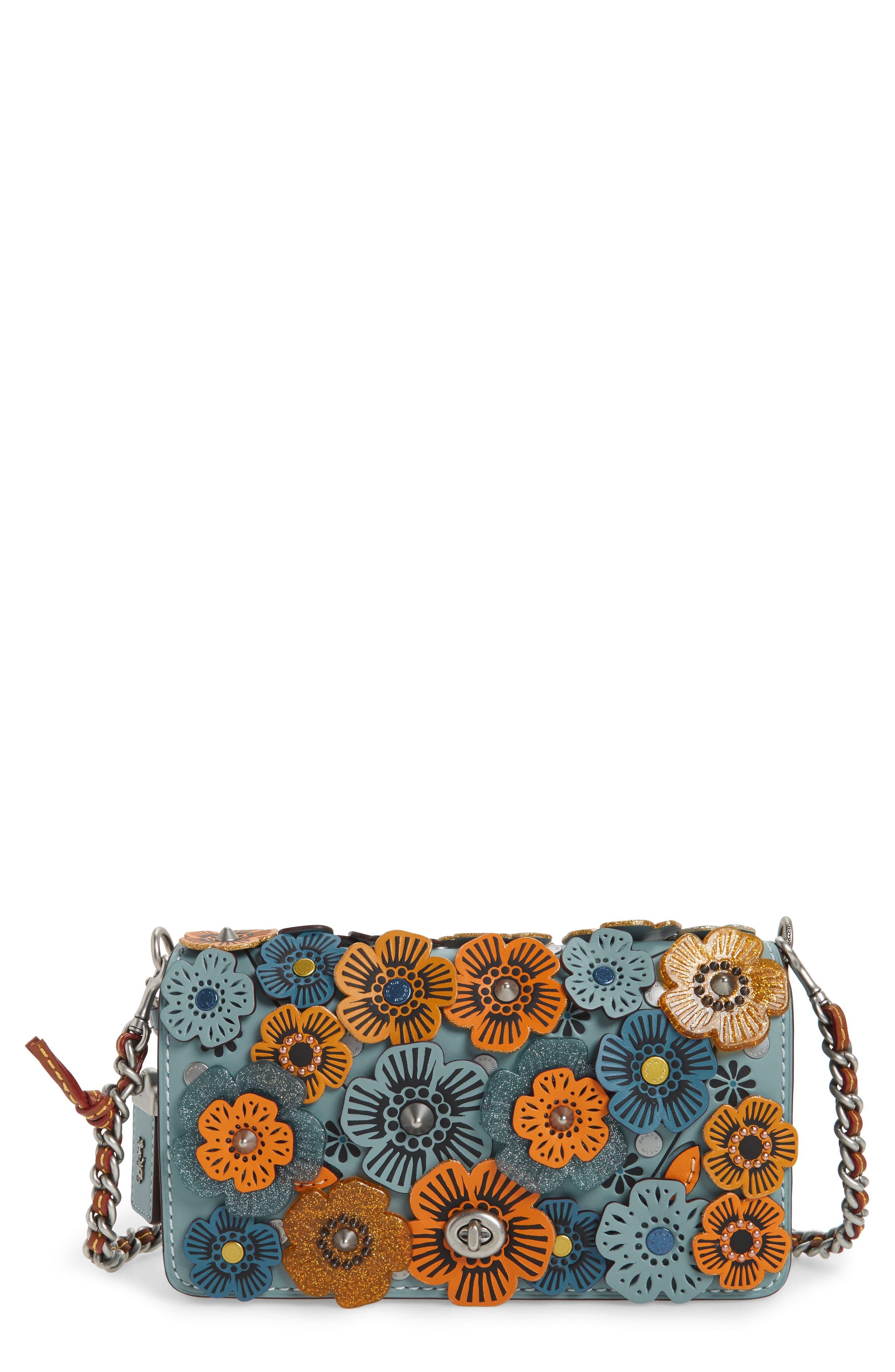 Dinky Tea Rose Appliqué Leather Crossbody Bag,                         Main,                         color, Steel Blue