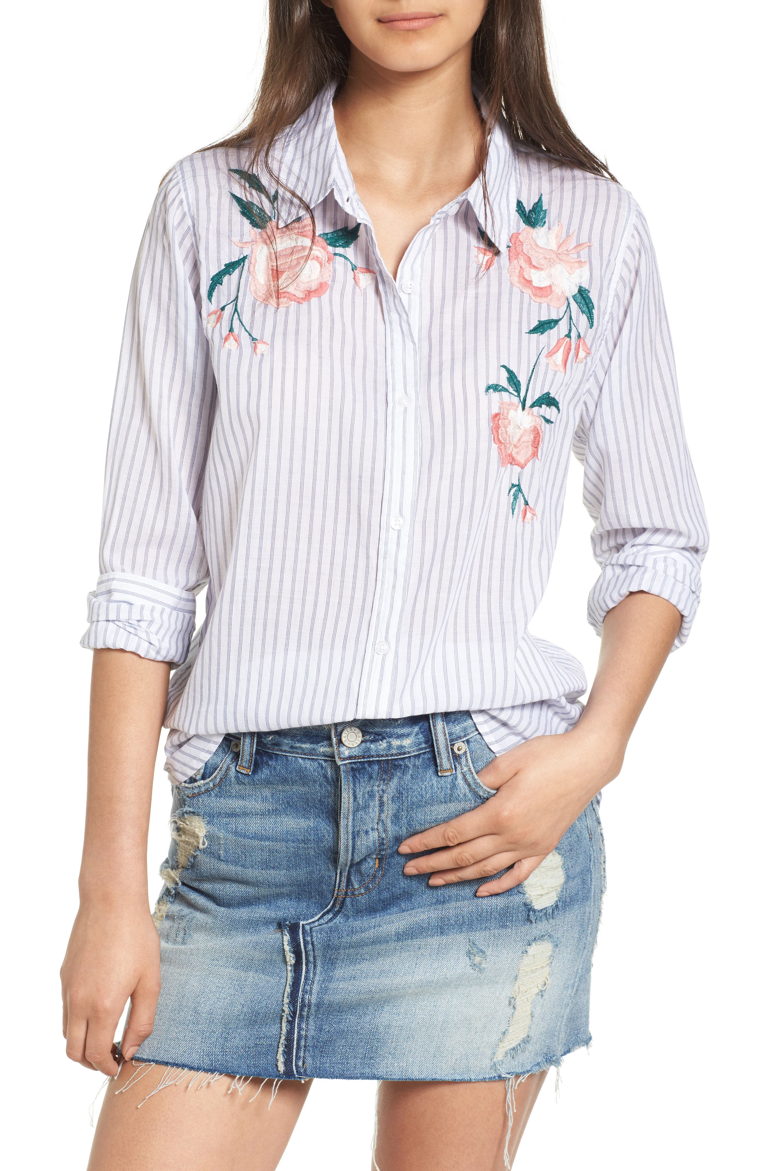 Nevin Embroidered Shirt,                             Main thumbnail 1, color,                             Stripe Pink Floral Embroidery