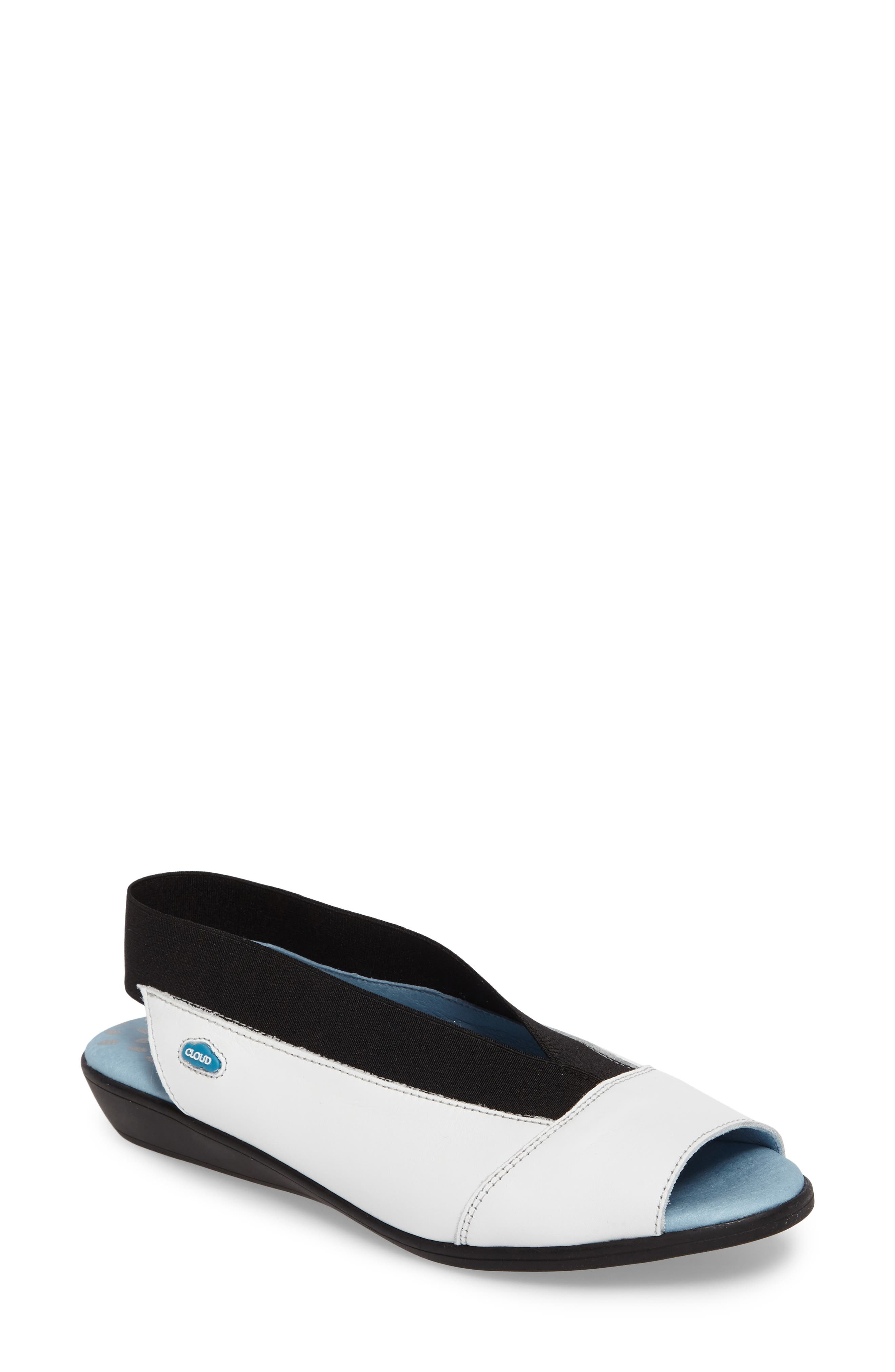 CLOUD 'Caliber' Peep Toe Leather Flat (Women)