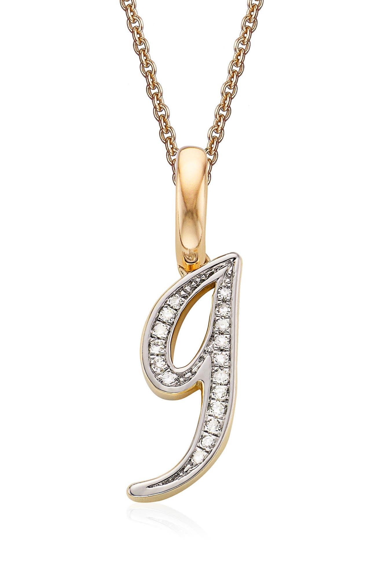 Alphabet Diamond Pavé Pendant,                             Main thumbnail 1, color,                             Gold/ Diamond- G